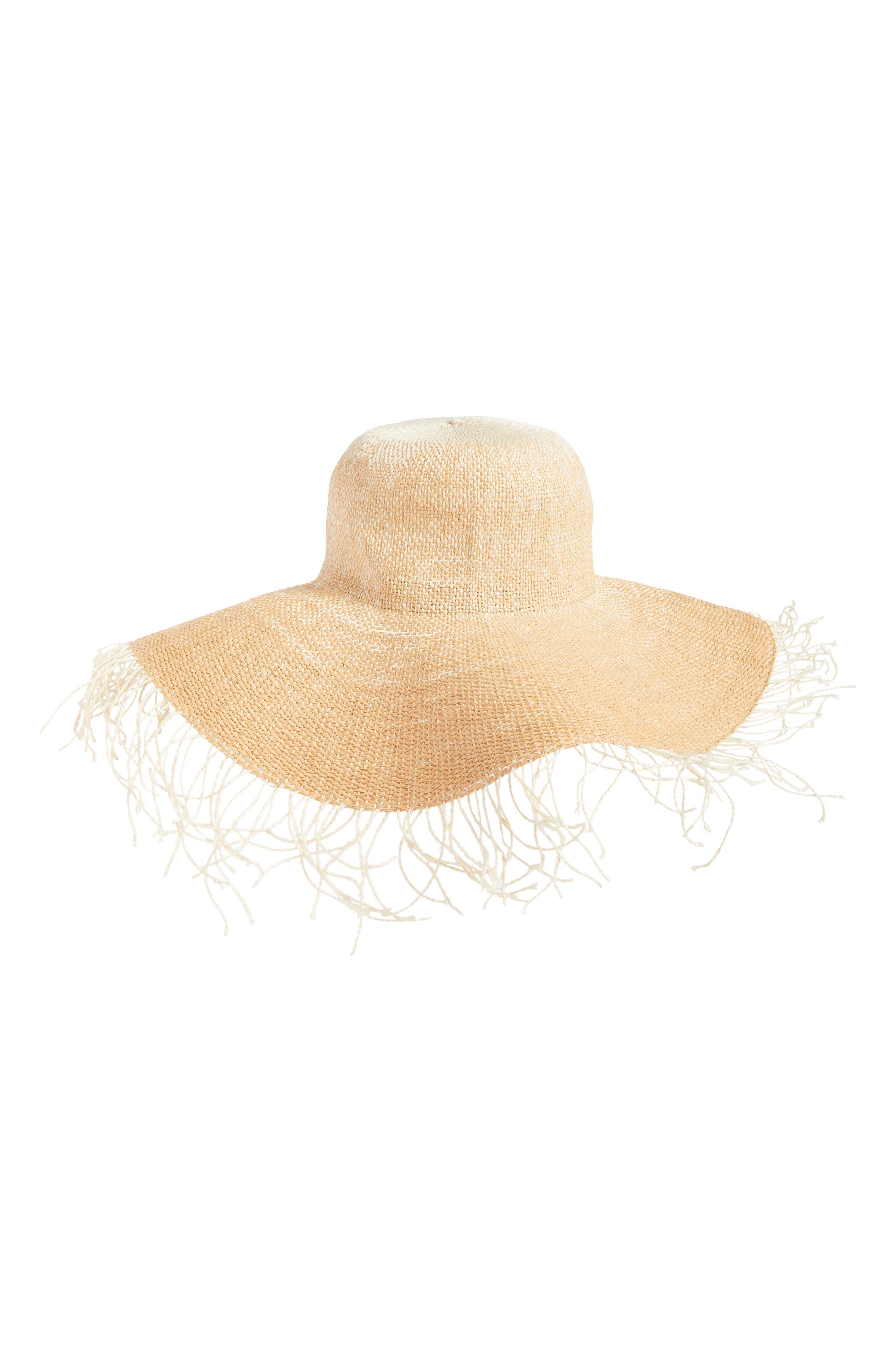 Fringe Ombré Floppy Straw Hat,                             Main thumbnail 1, color,                             Natural/ White
