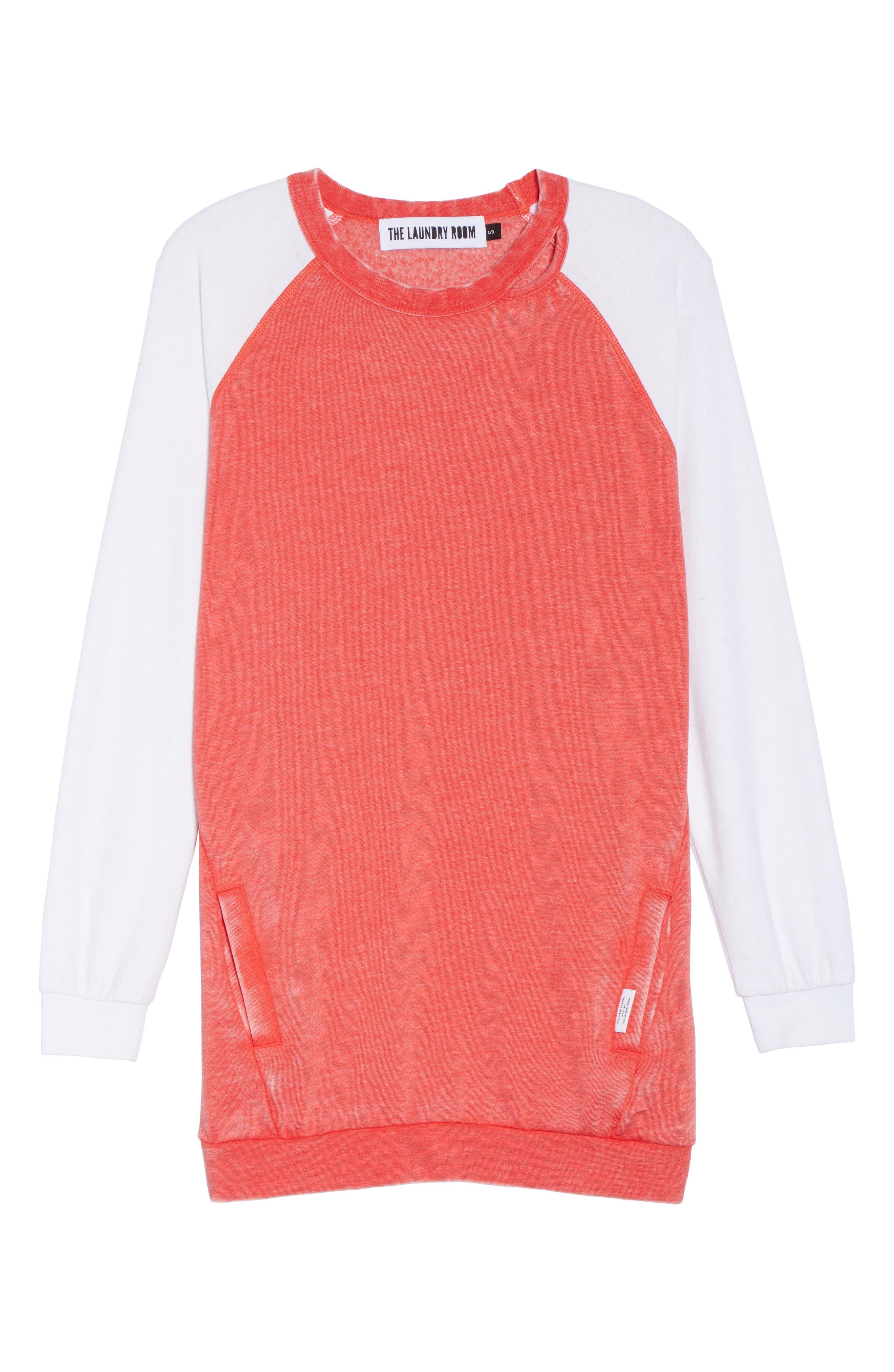 Lounge Sweatshirt Dress,                             Alternate thumbnail 6, color,                             Love Red/ White