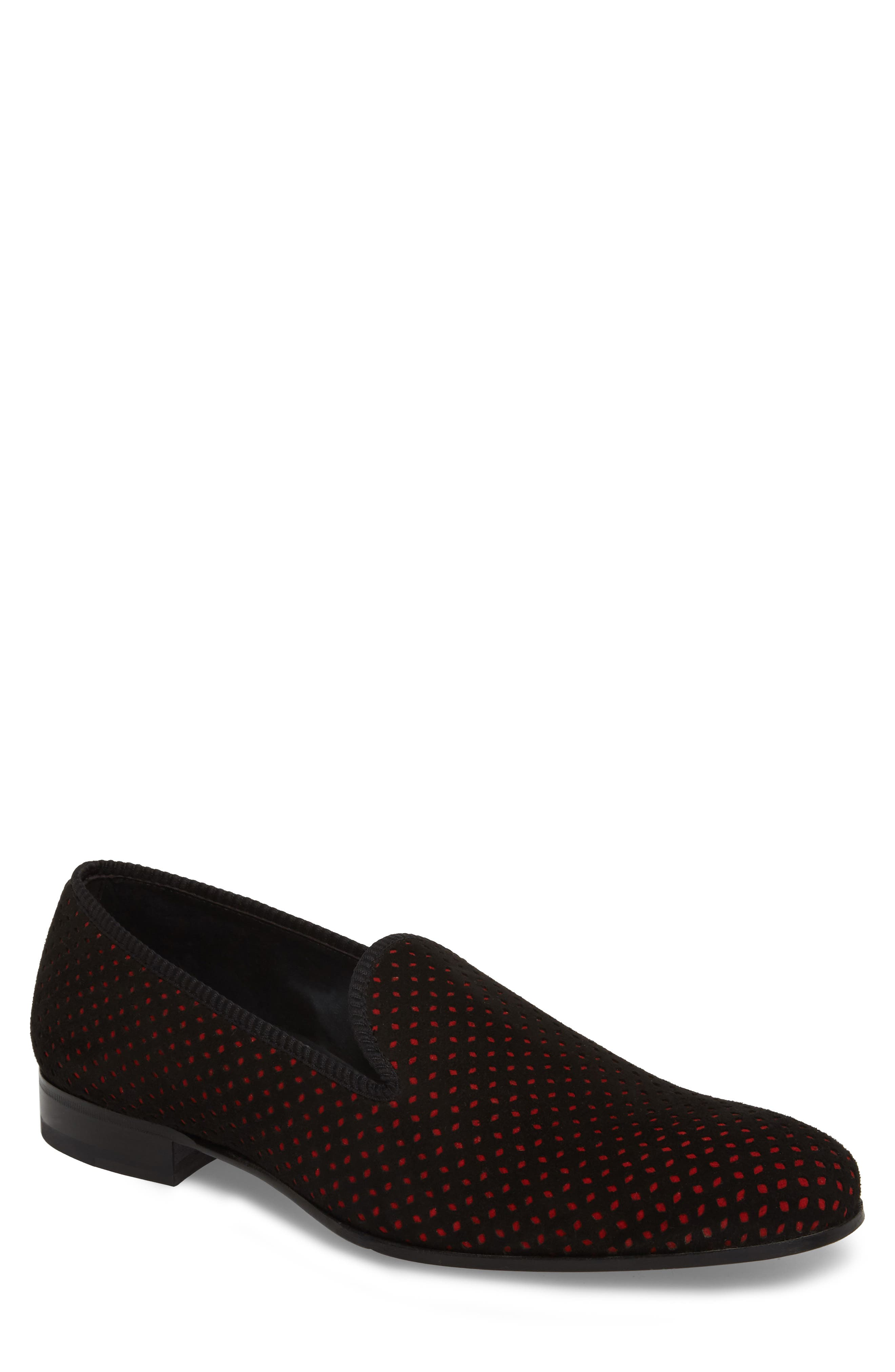 MEZLAN Cibeles Venetian Loafer in Black/ Red Suede