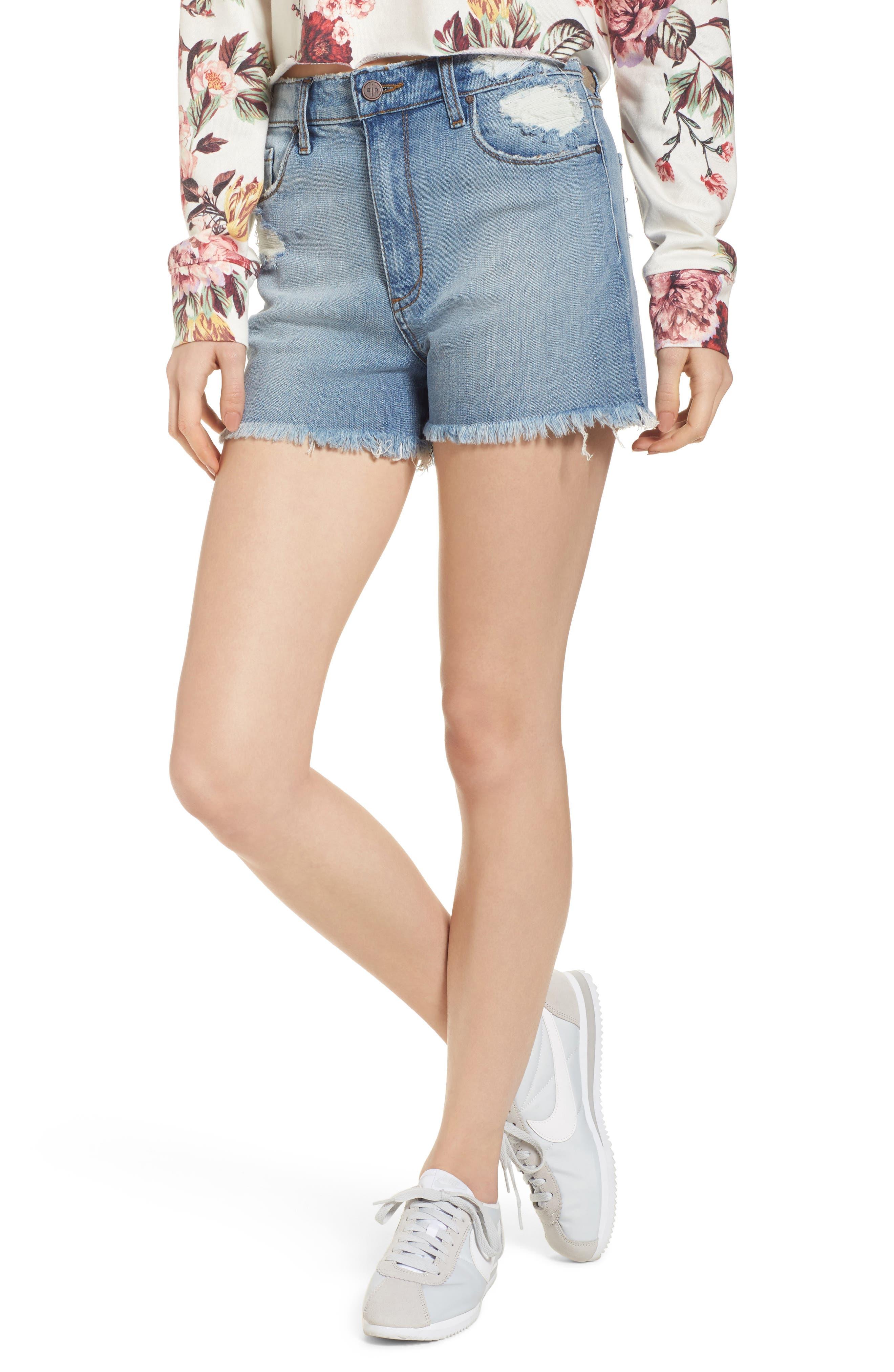 High Waist Distressed Denim Shorts,                         Main,                         color, Medium Wash