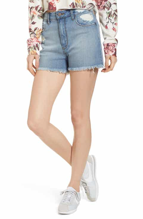 BP High Waist Distressed Denim Shorts