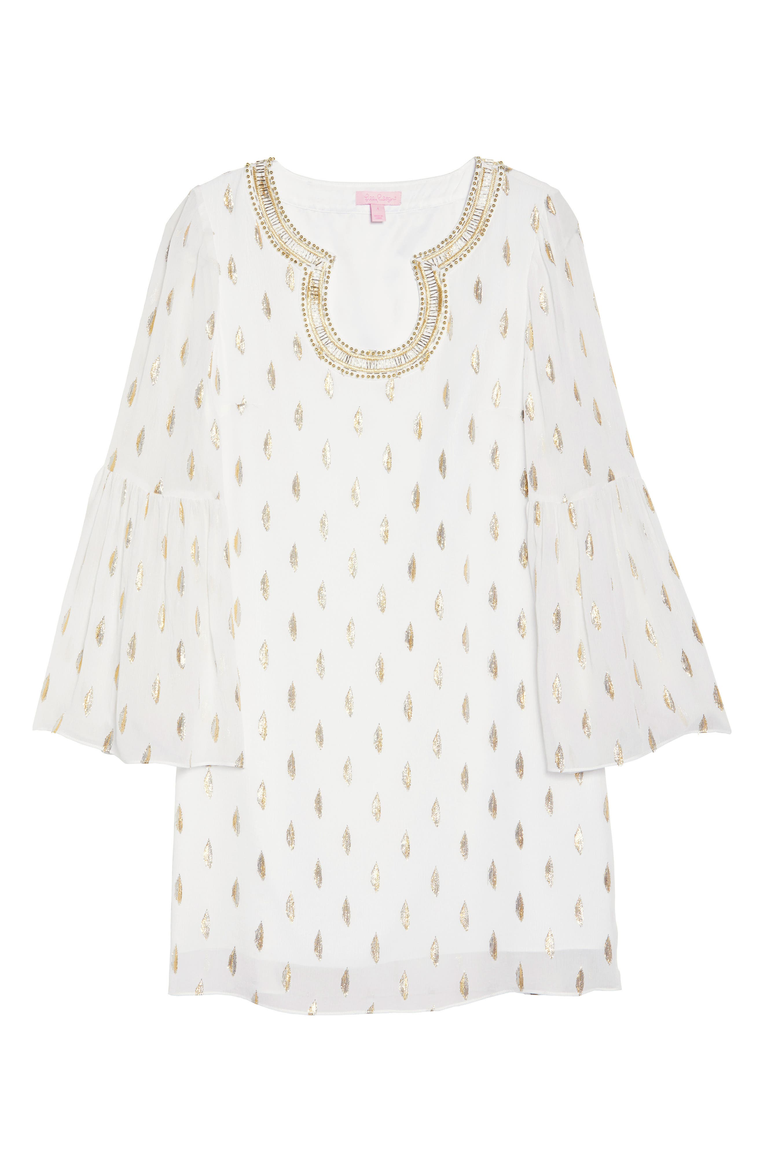 Amory Silk Tunic Dress,                             Alternate thumbnail 6, color,                             Resort White Diamond Metallic