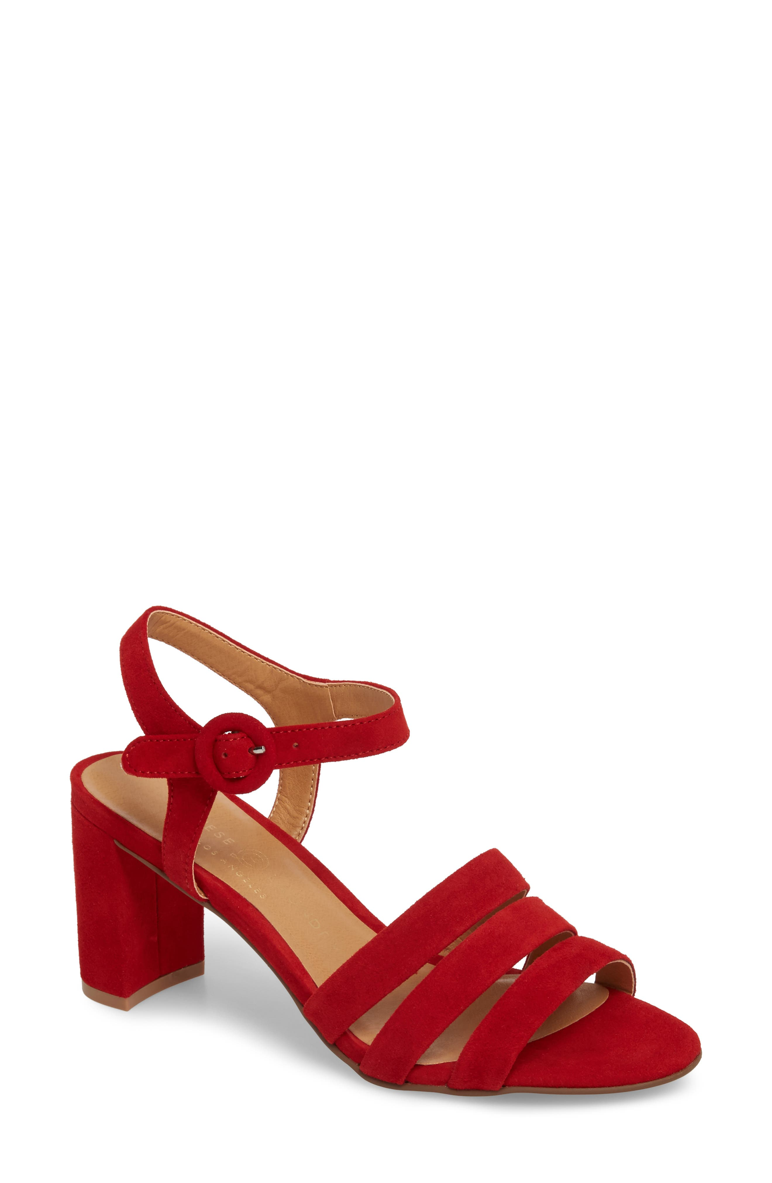 Ryden Strappy Sandal,                             Main thumbnail 1, color,                             Red