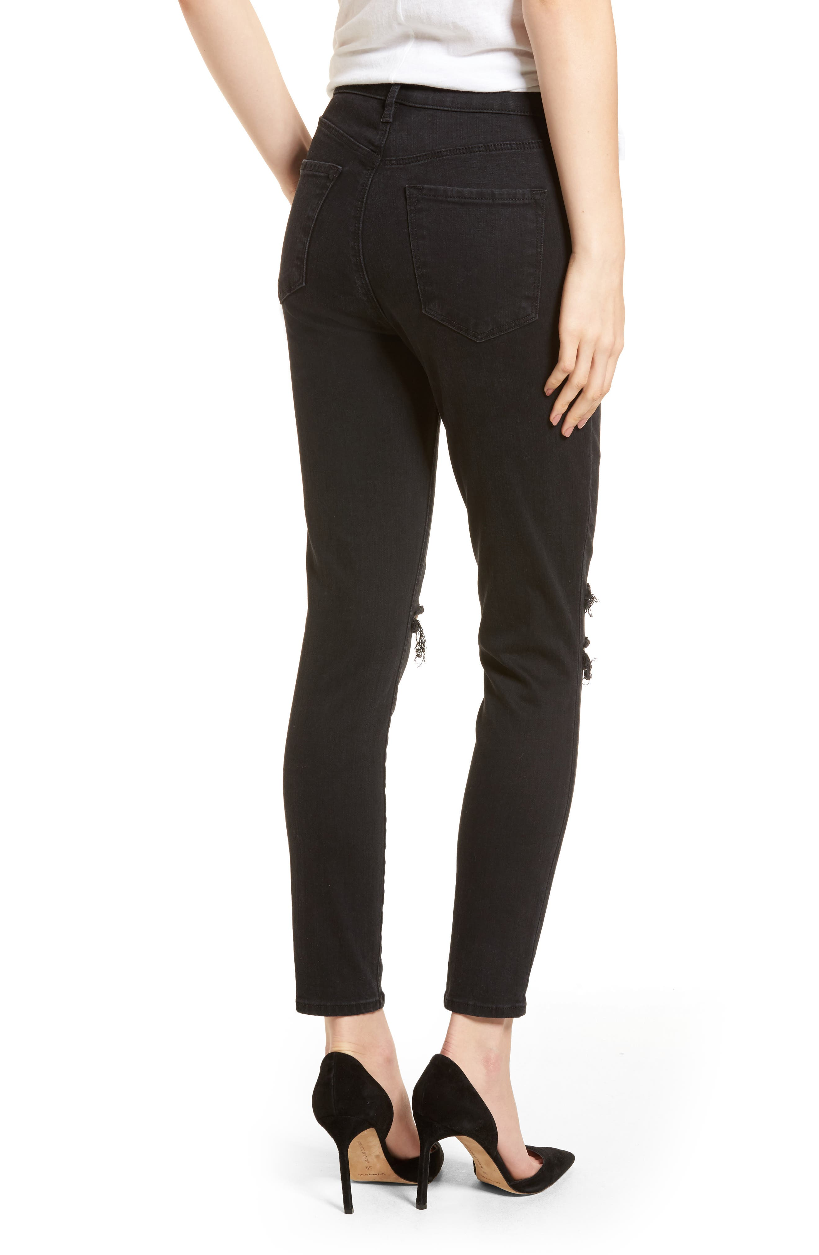 Alternate Image 2  - J Brand Alana High Waist Ankle Skinny Jeans (Black Mercy) (Nordstrom Exclusive)