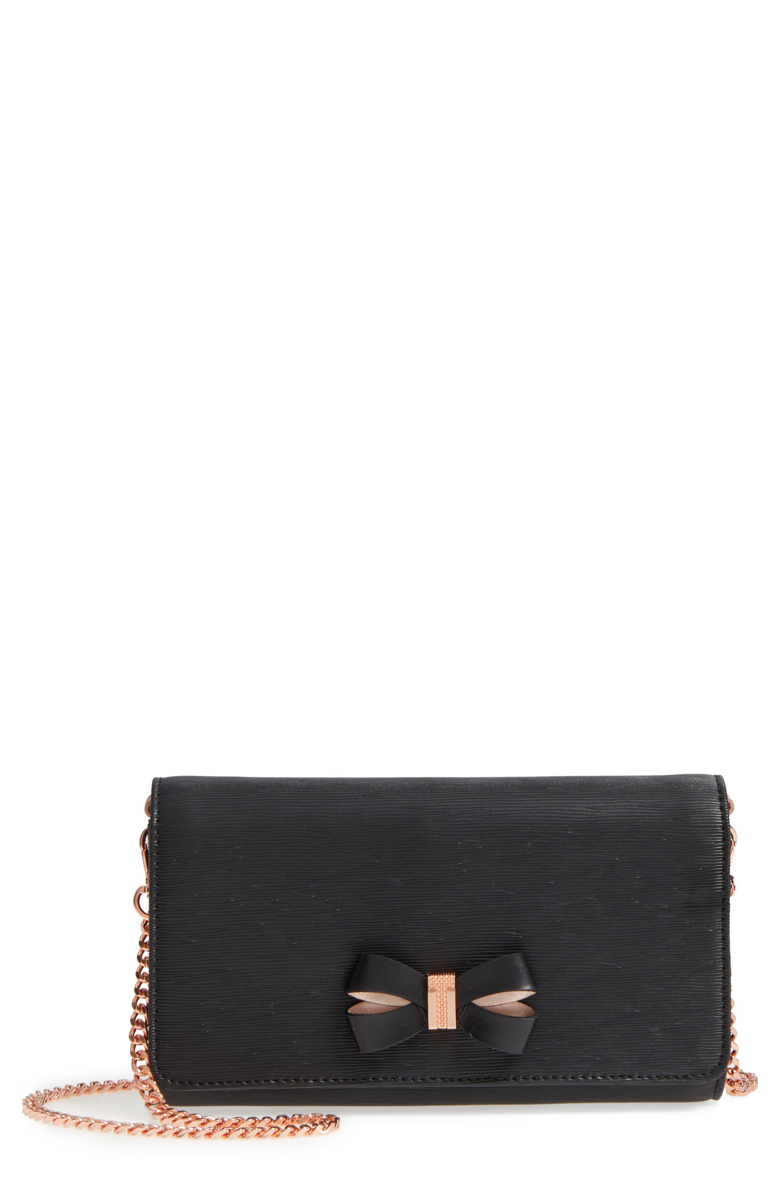 Melisia Bow Matinée Wallet on a Chain,                         Main,                         color, Black