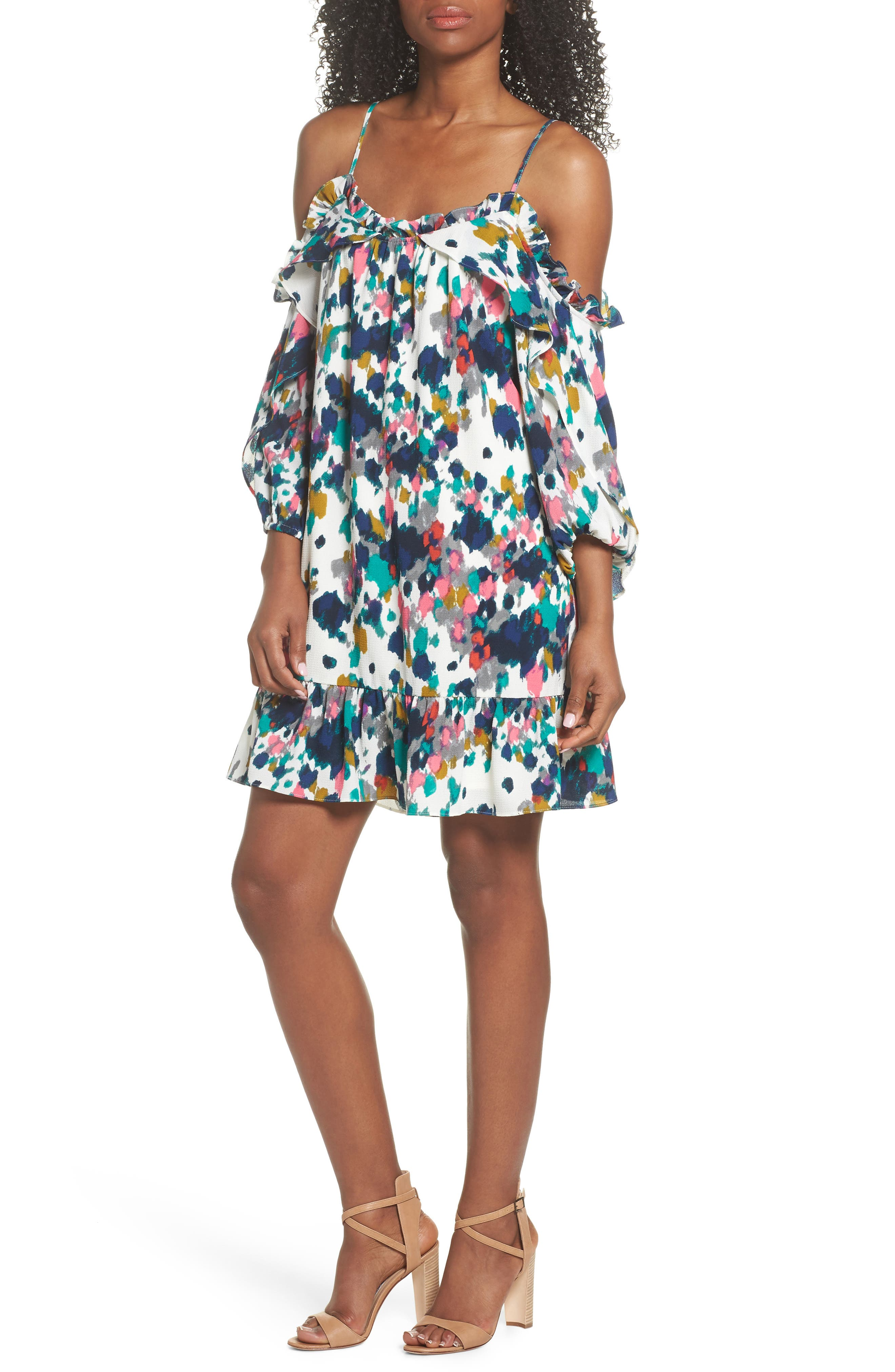 Clove and Sloane Fly Away Ruffle Cold Shoulder Dress,                             Main thumbnail 1, color,                             Soft White Cobalt Blue