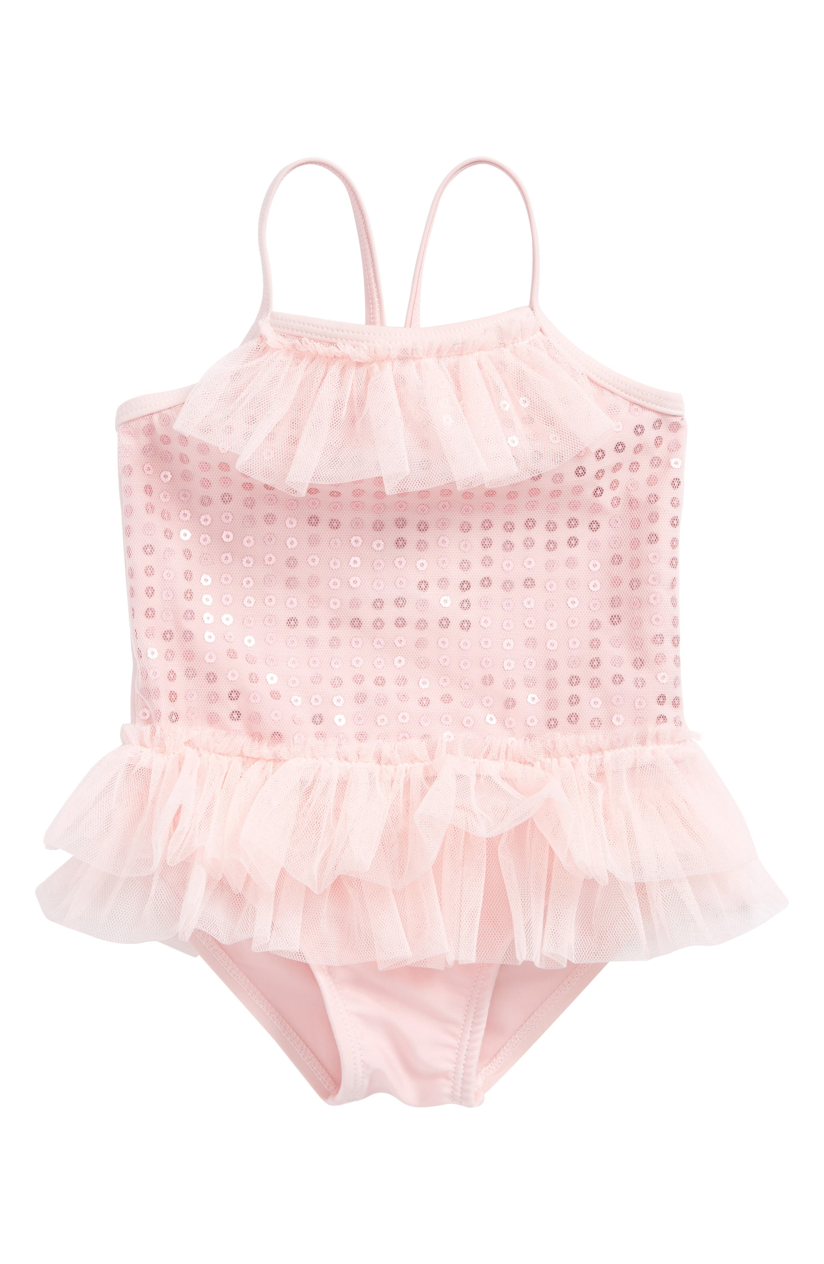 One-Piece Swimsuit,                         Main,                         color, Pink
