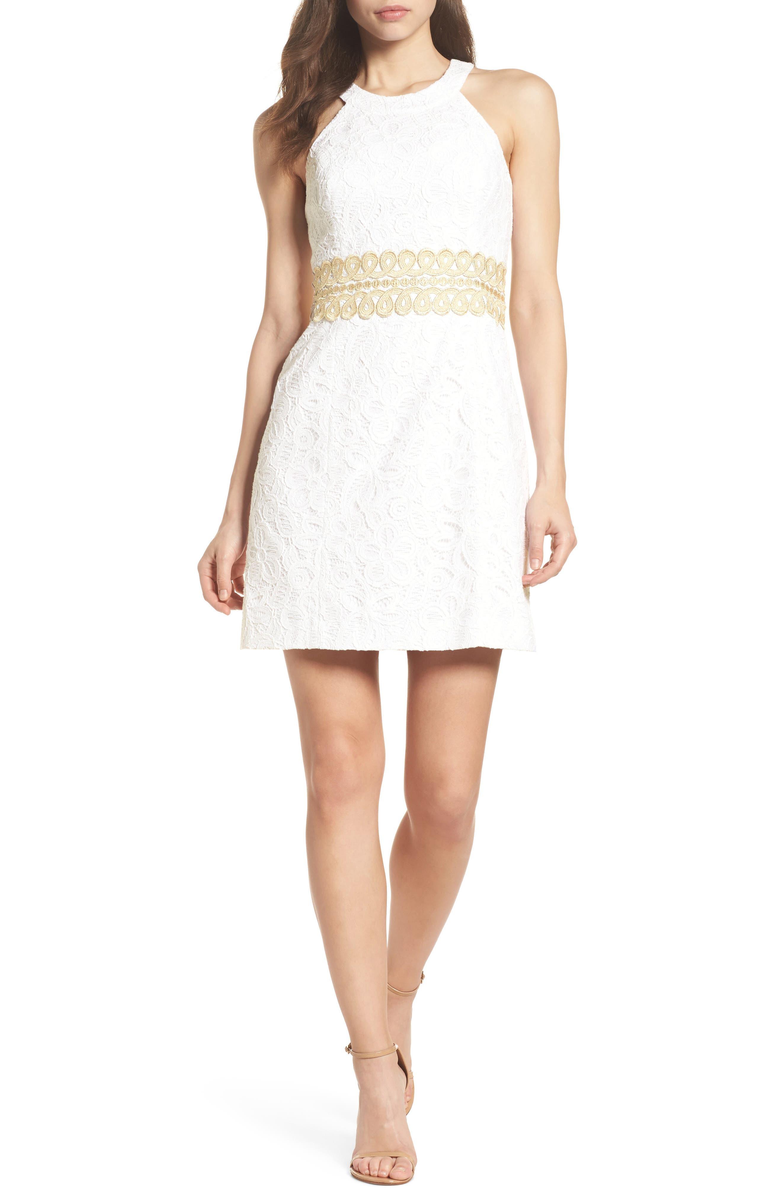 Ashlyn Lace Dress,                             Main thumbnail 1, color,                             Resort White Pop Floral Lace