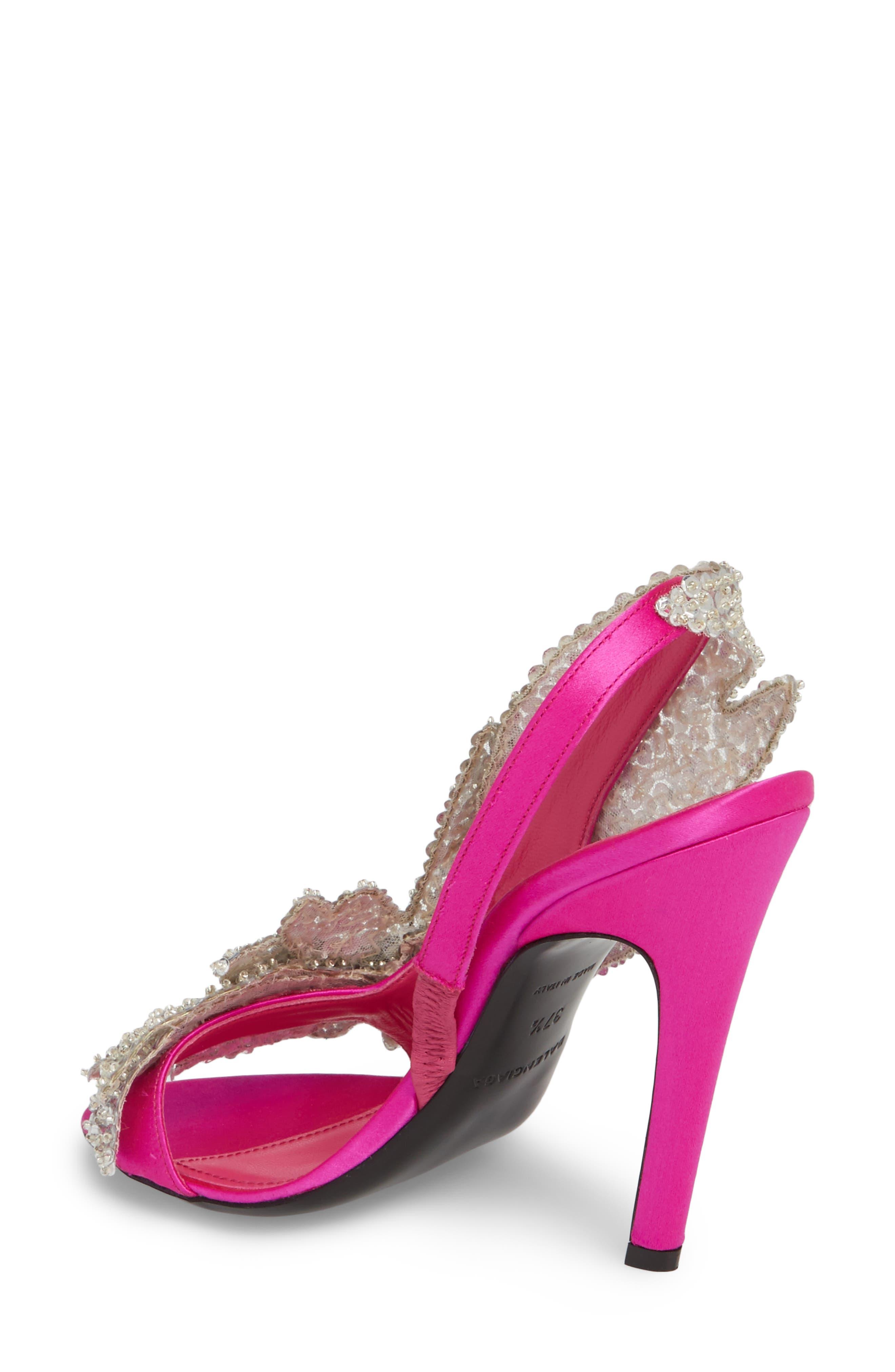 Embellished Slingback Sandal,                             Alternate thumbnail 2, color,                             Rose Fuchsia/ Crystal