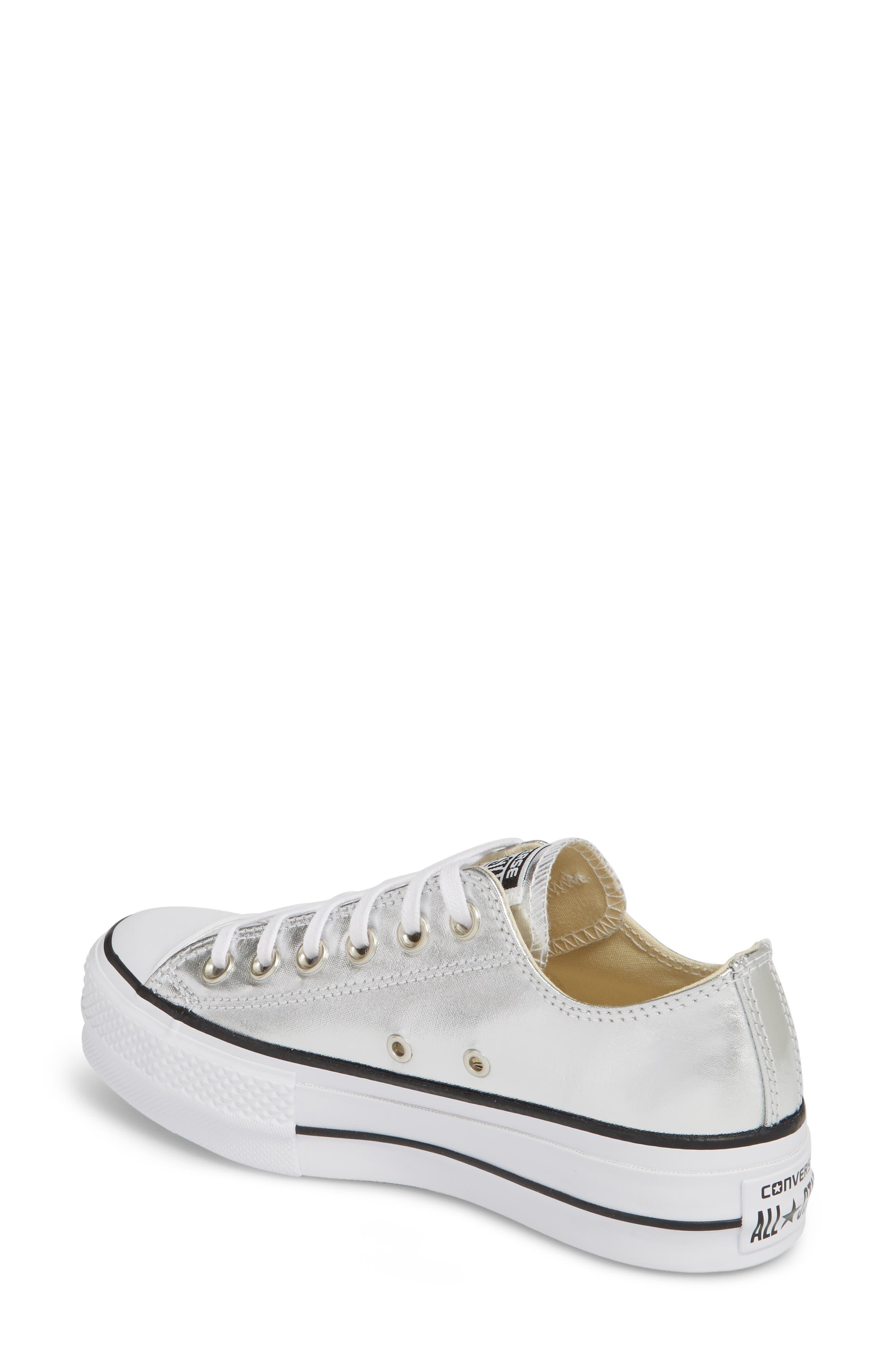 Chuck Taylor<sup>®</sup> All Star Platform Sneaker,                             Alternate thumbnail 2, color,                             Silver/ Black