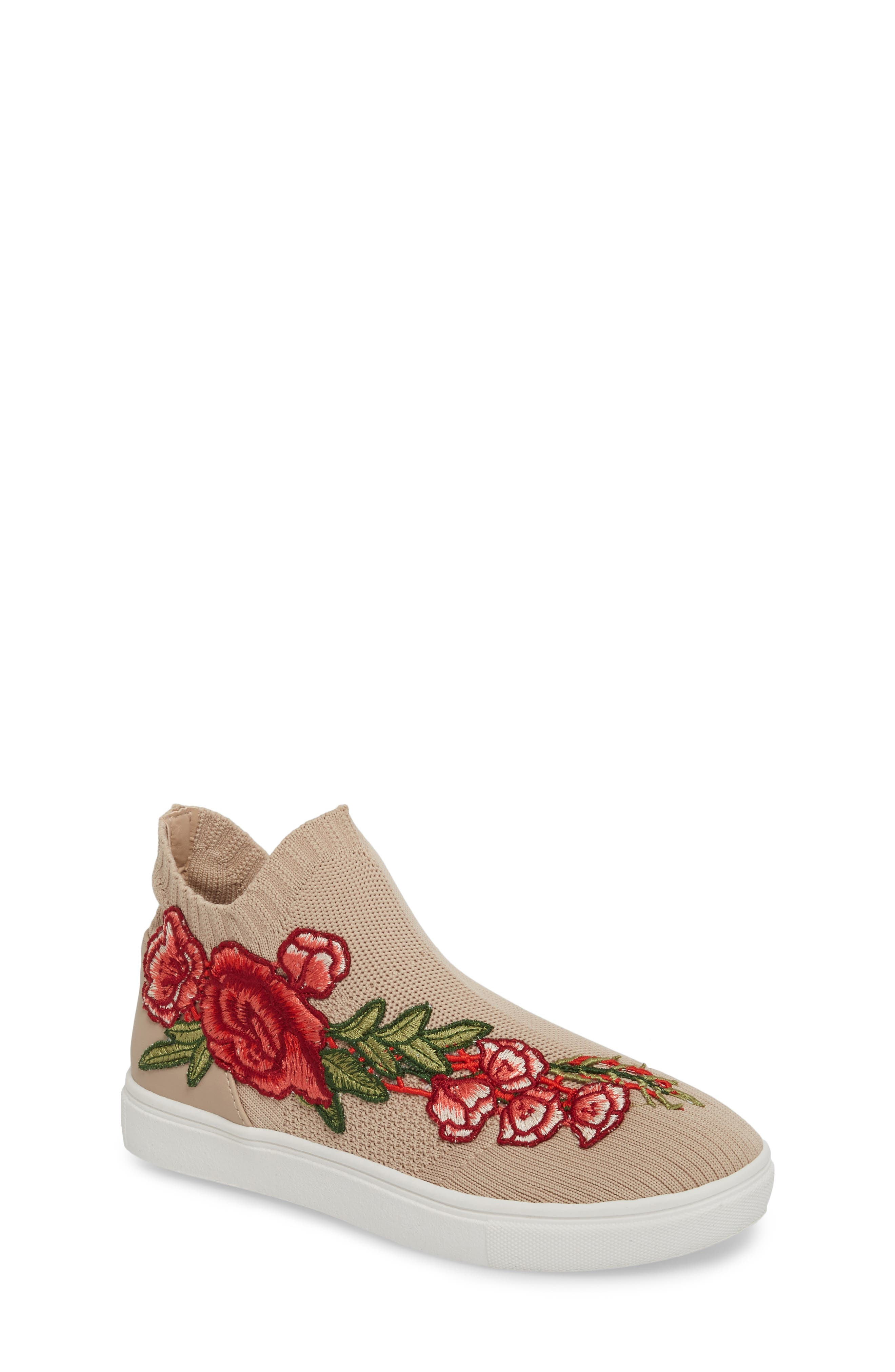 July Embroidered Knit Bootie,                             Main thumbnail 1, color,                             Blush