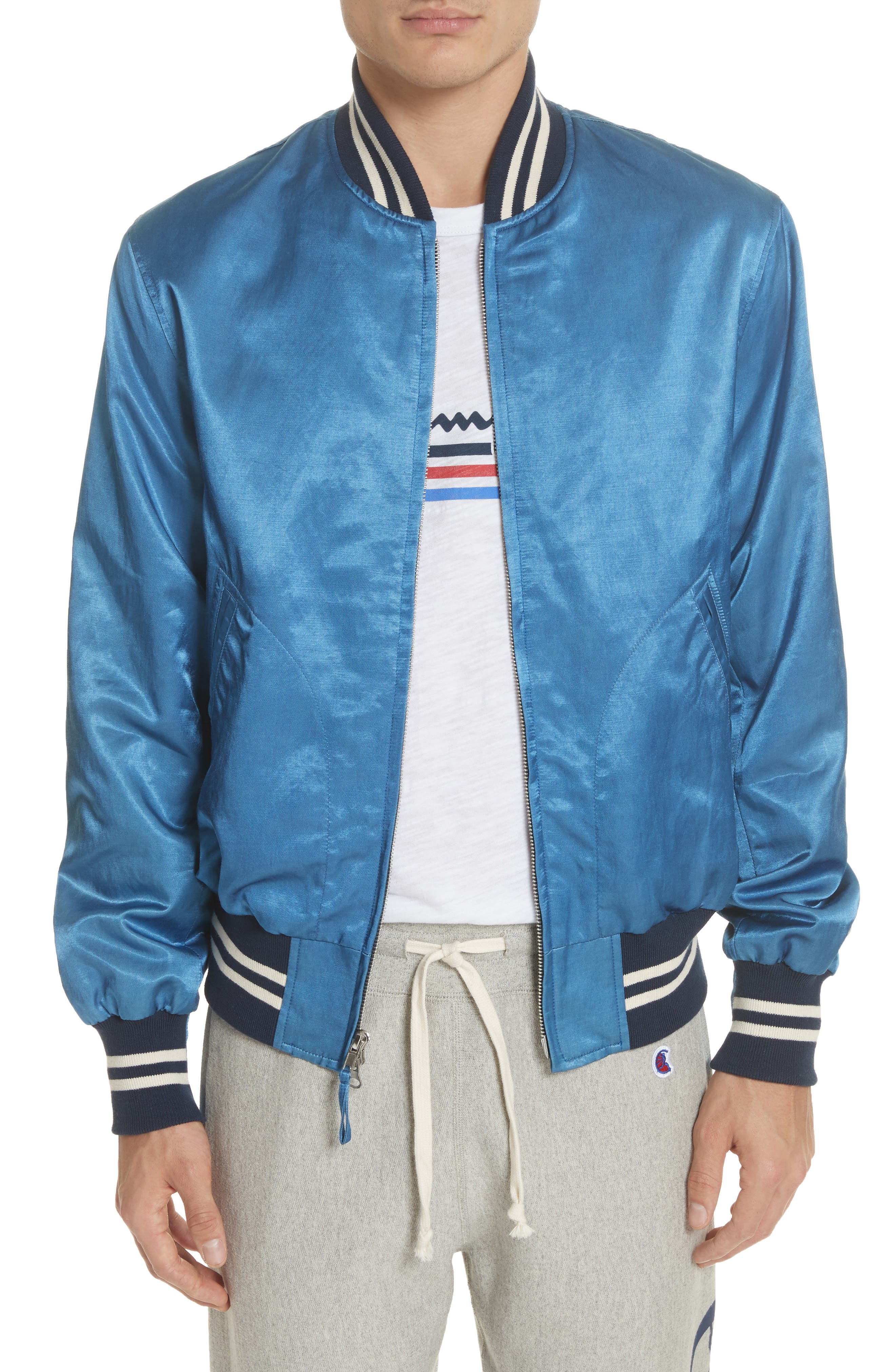 + Champion Bomber Jacket,                             Main thumbnail 1, color,                             Indigo