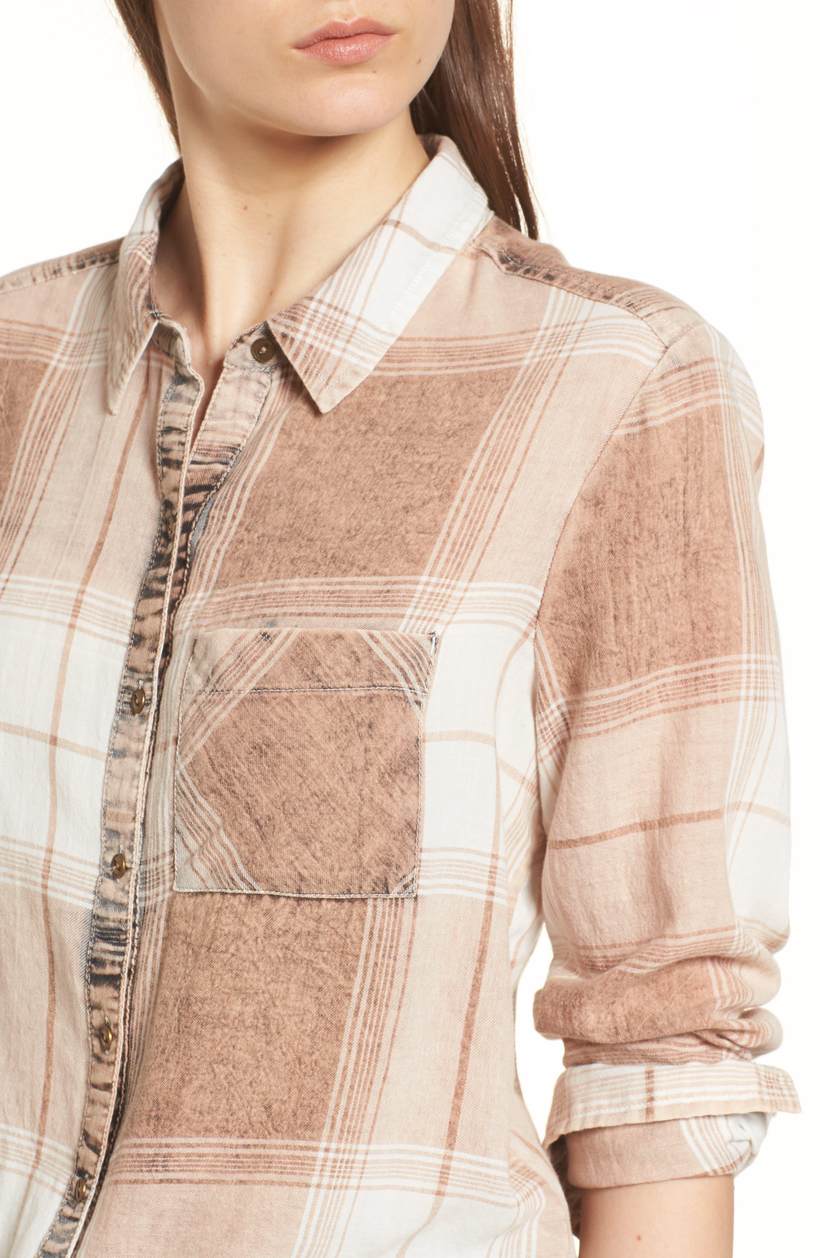 Plaid Button Up Shirt,                             Alternate thumbnail 4, color,                             Tan Nomad Freida Plaid