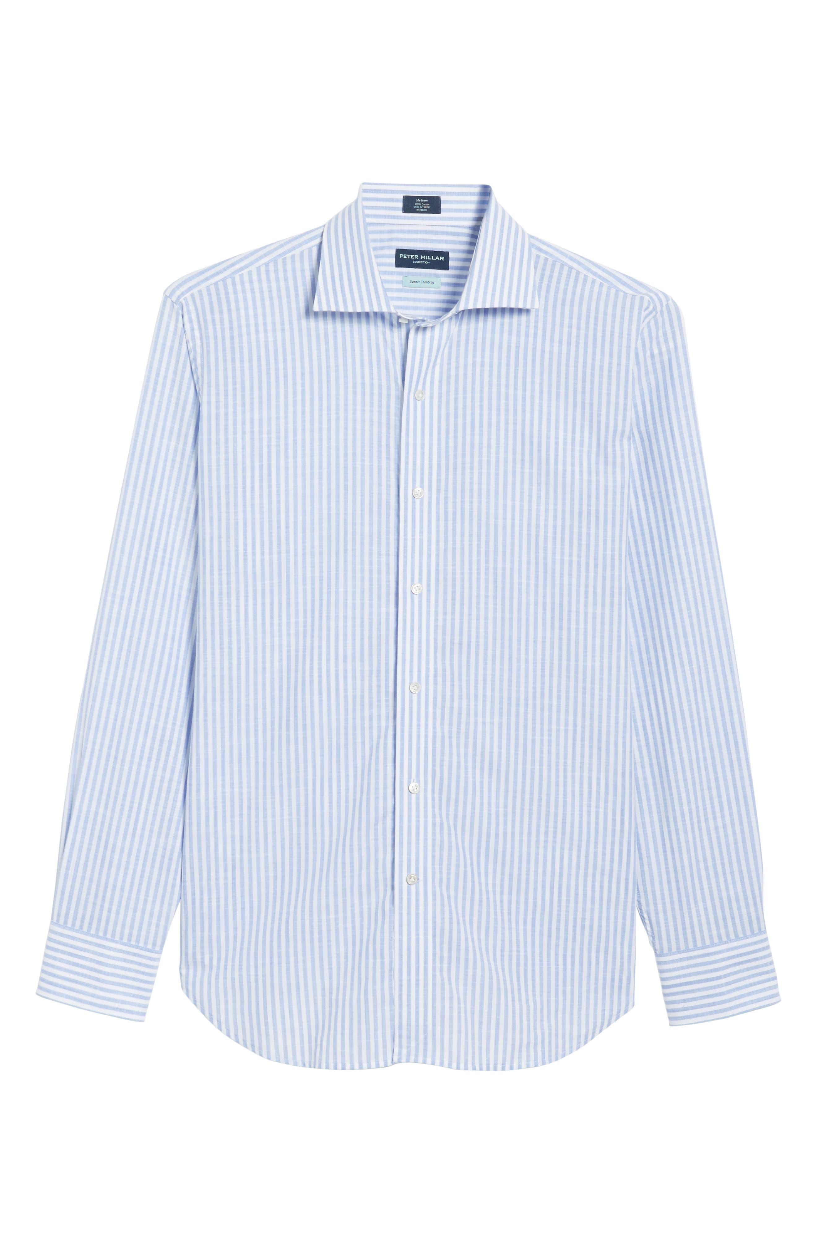Summer Stripe Chambray Sport Shirt,                             Alternate thumbnail 6, color,                             Blue Ceillo
