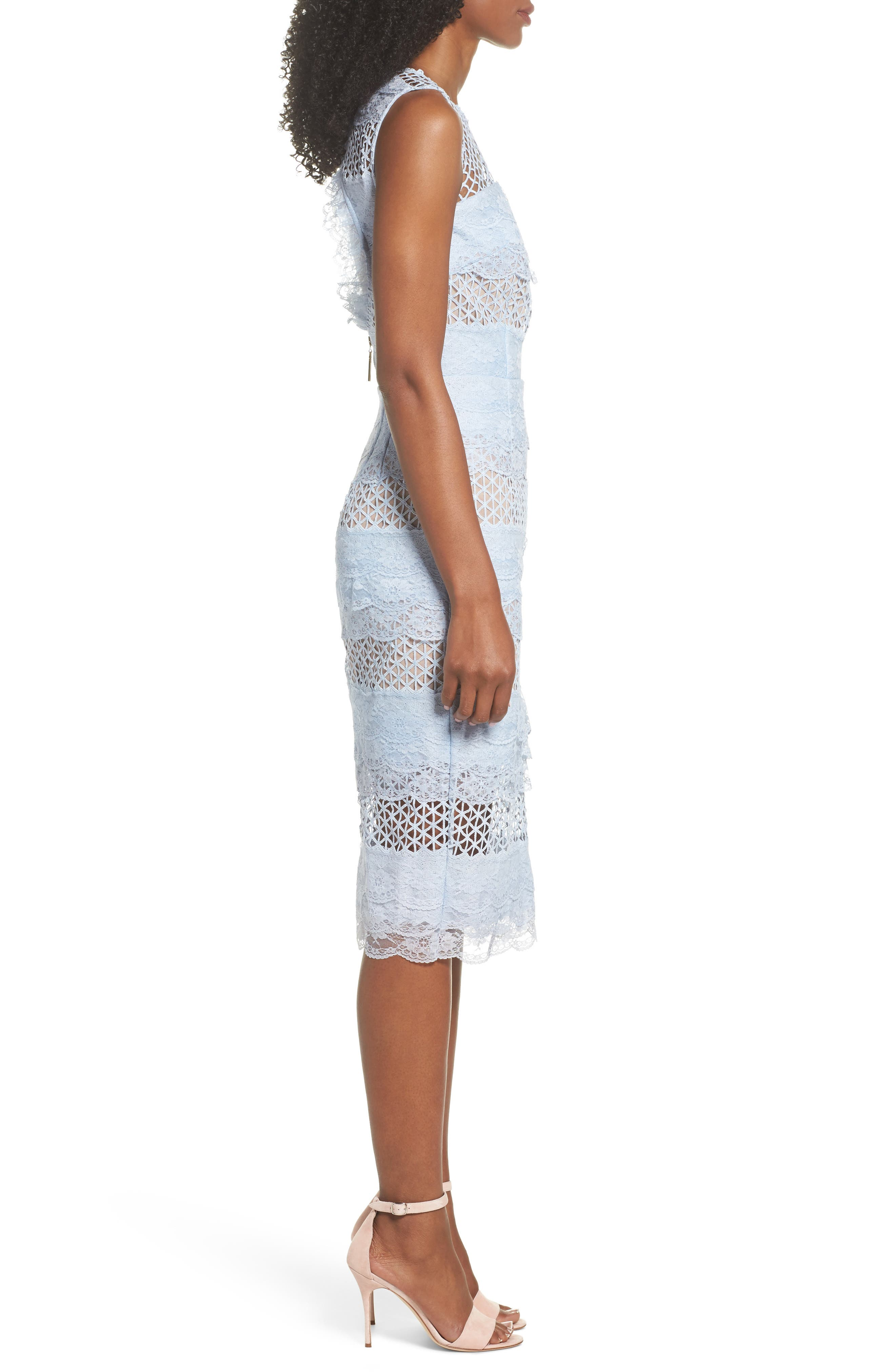 Sienna Lace Panel Sheath Dress,                             Alternate thumbnail 7, color,                             Sky