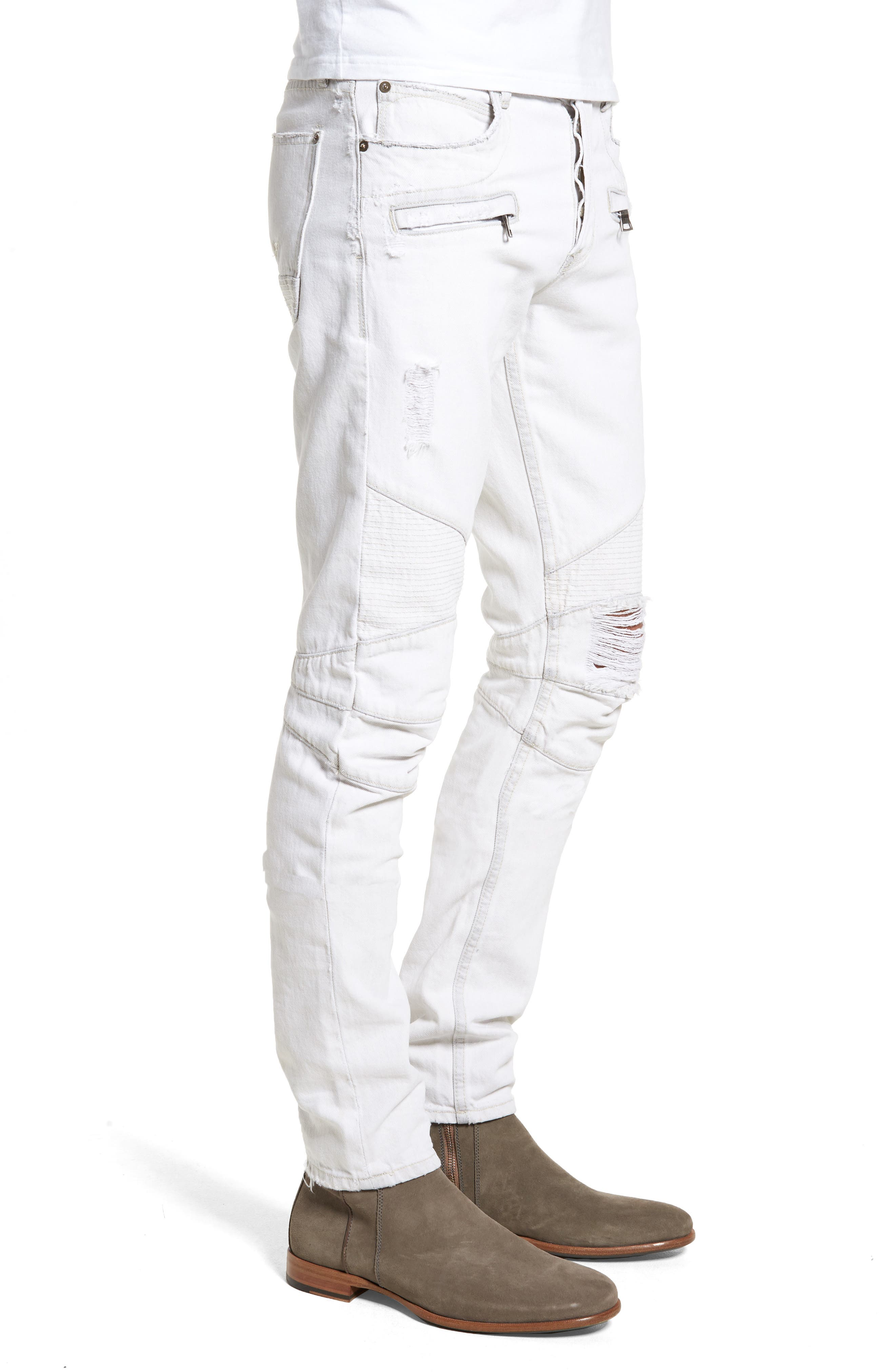 Blinder Biker Skinny Fit Moto Jeans,                             Alternate thumbnail 3, color,                             Extracted White