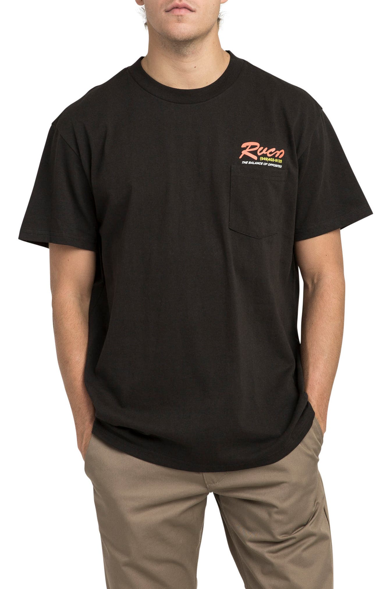 Bonded Graphic Pocket T-Shirt,                         Main,                         color, Black