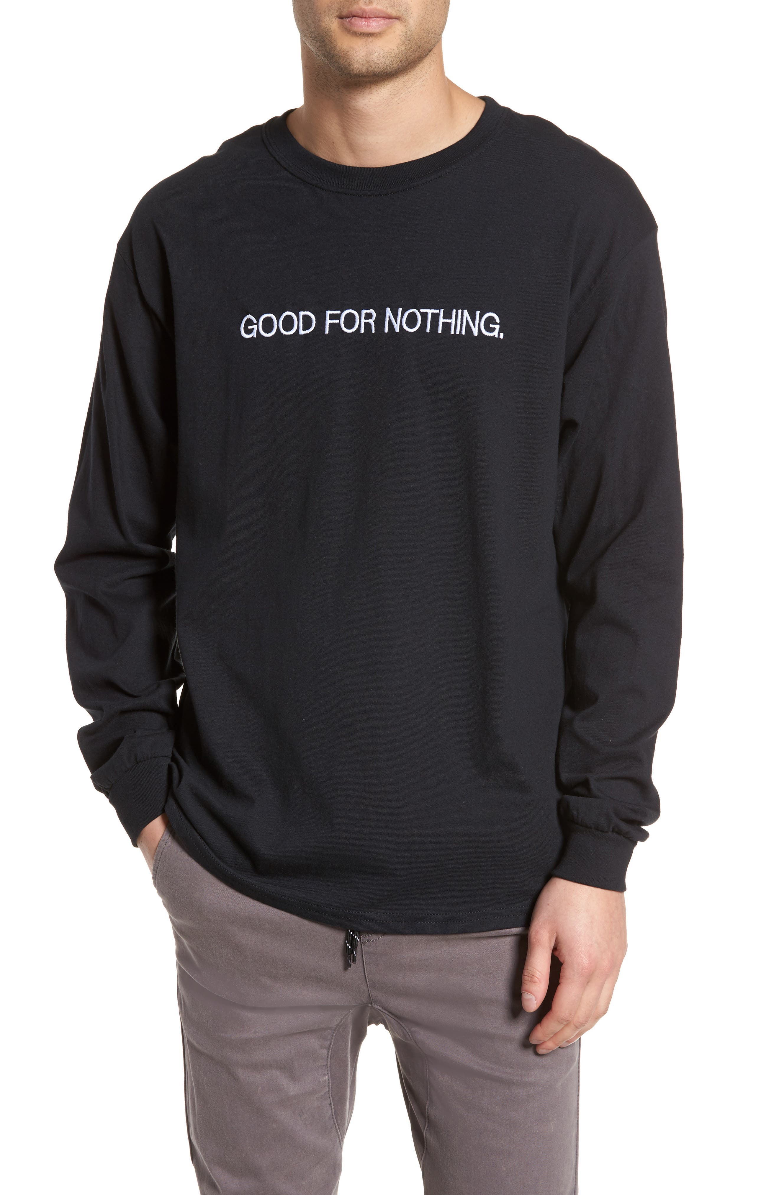 Good for Nothing Embroidered T-Shirt,                             Main thumbnail 1, color,                             Black Good For