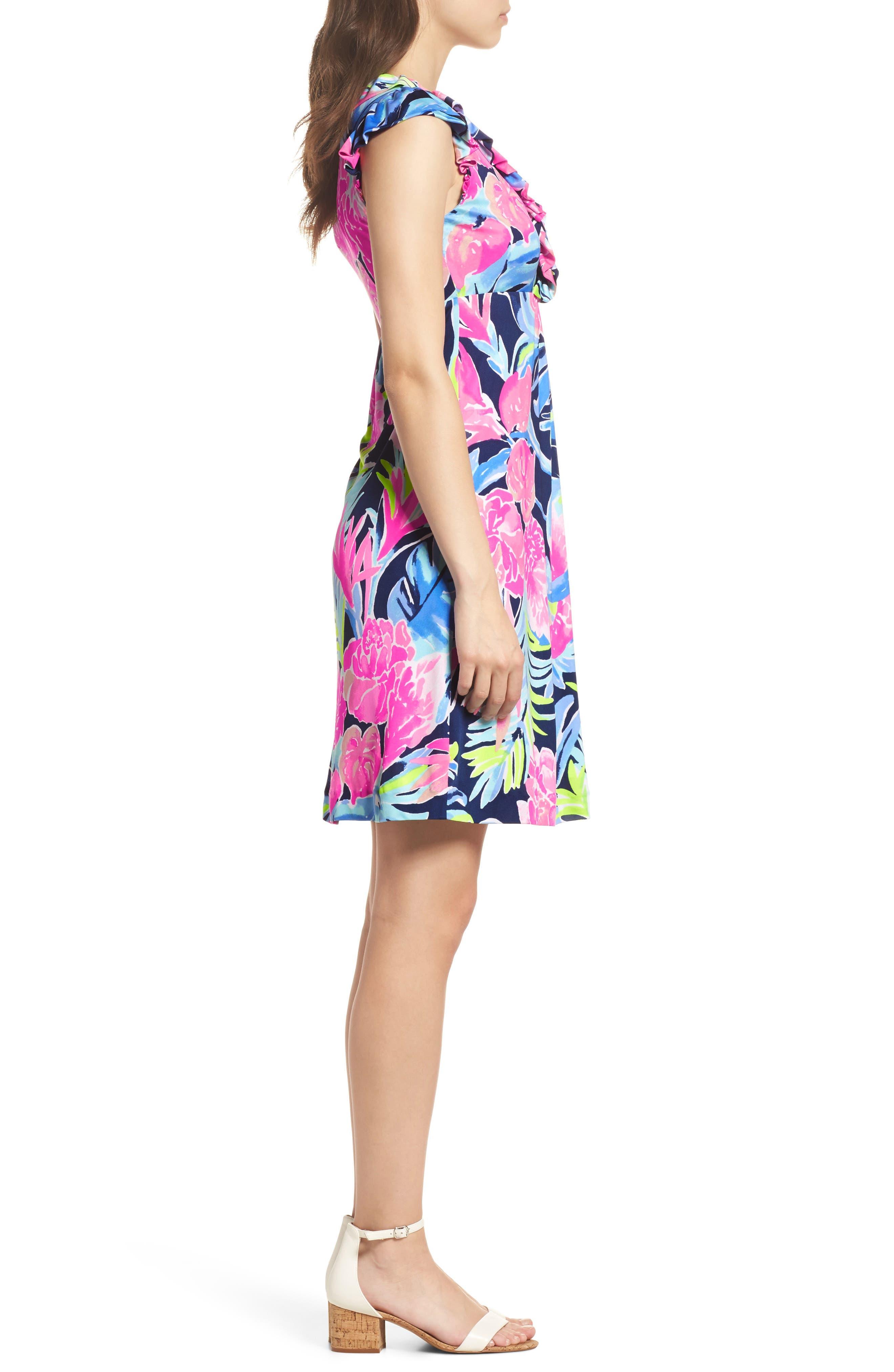 Clare Floral Silk A-Line Dress,                             Alternate thumbnail 3, color,                             High Tide Tropicolada