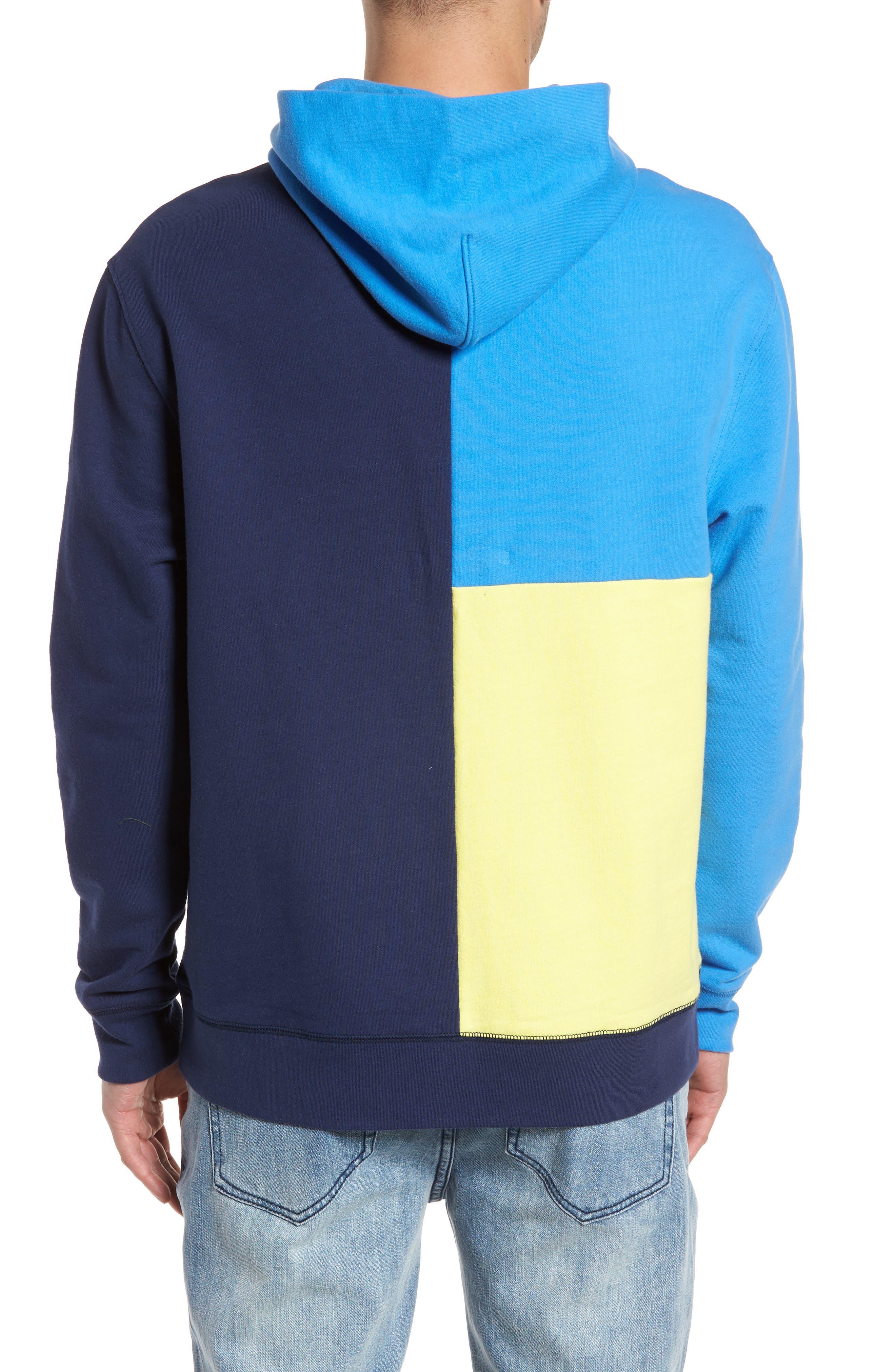 Colorblock Hoodie Sweatshirt,                             Alternate thumbnail 2, color,                             Navy Blue Yellow Block