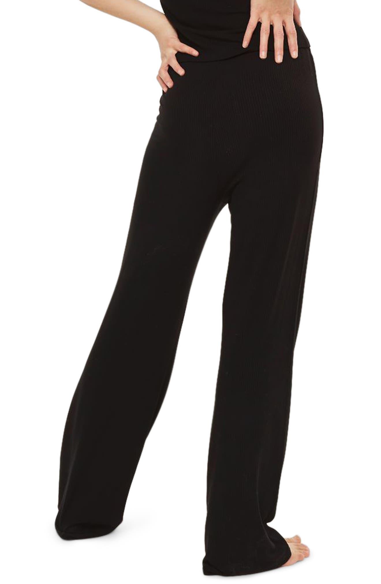 Ribbed Pajama Pants,                             Alternate thumbnail 2, color,                             Black