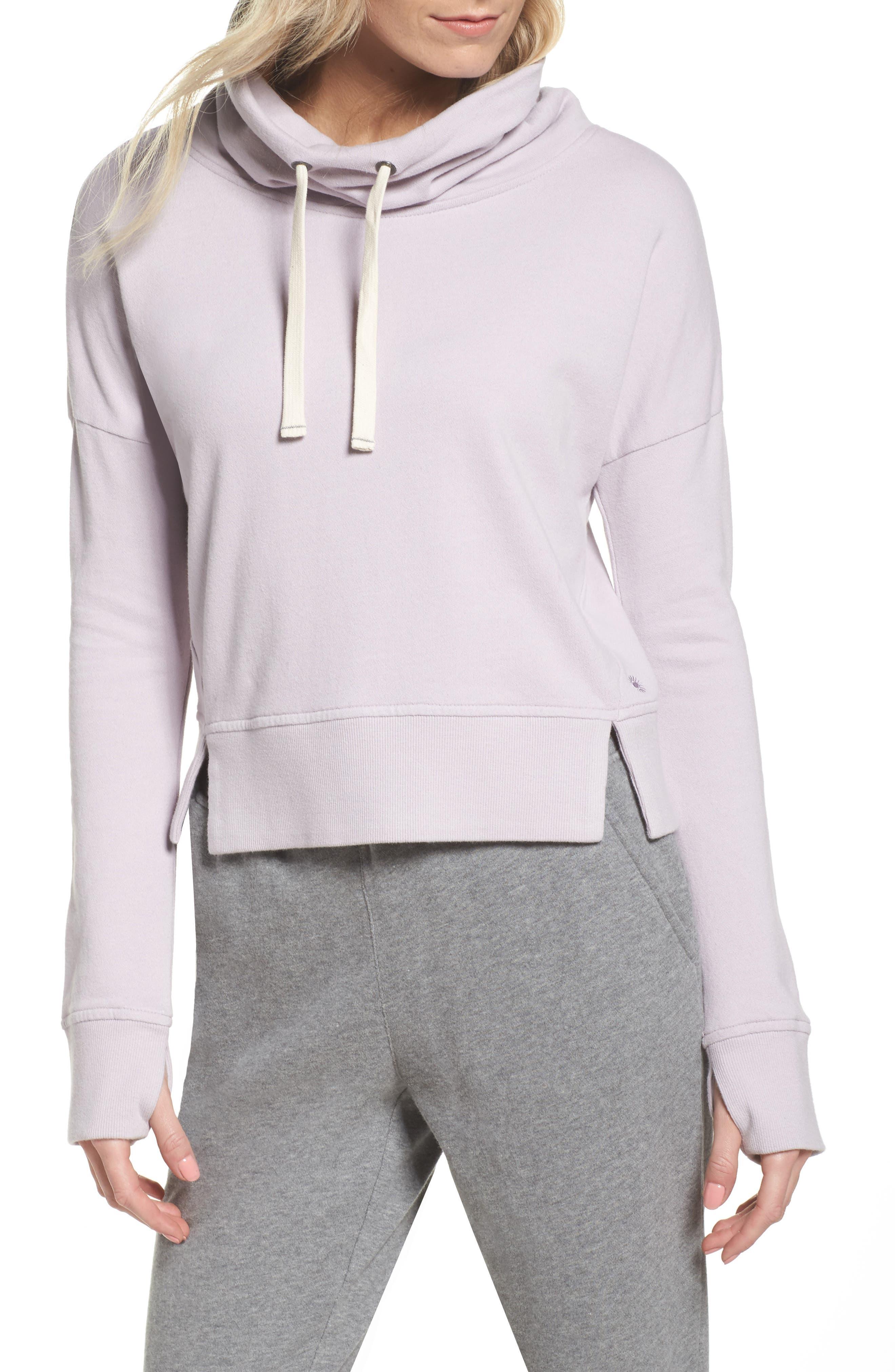 Miya Funnel Neck Sweatshirt,                             Main thumbnail 1, color,                             Lavender Fog