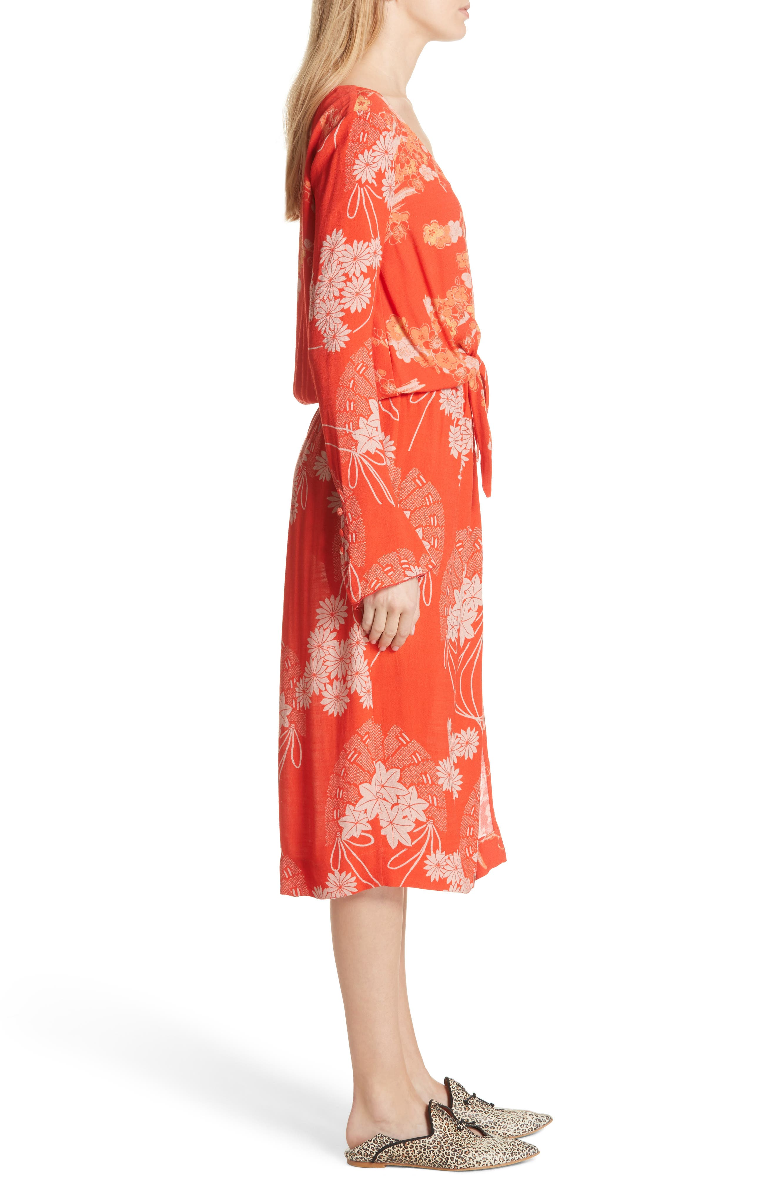 Twist Midi Dress,                             Alternate thumbnail 3, color,                             Red Combo