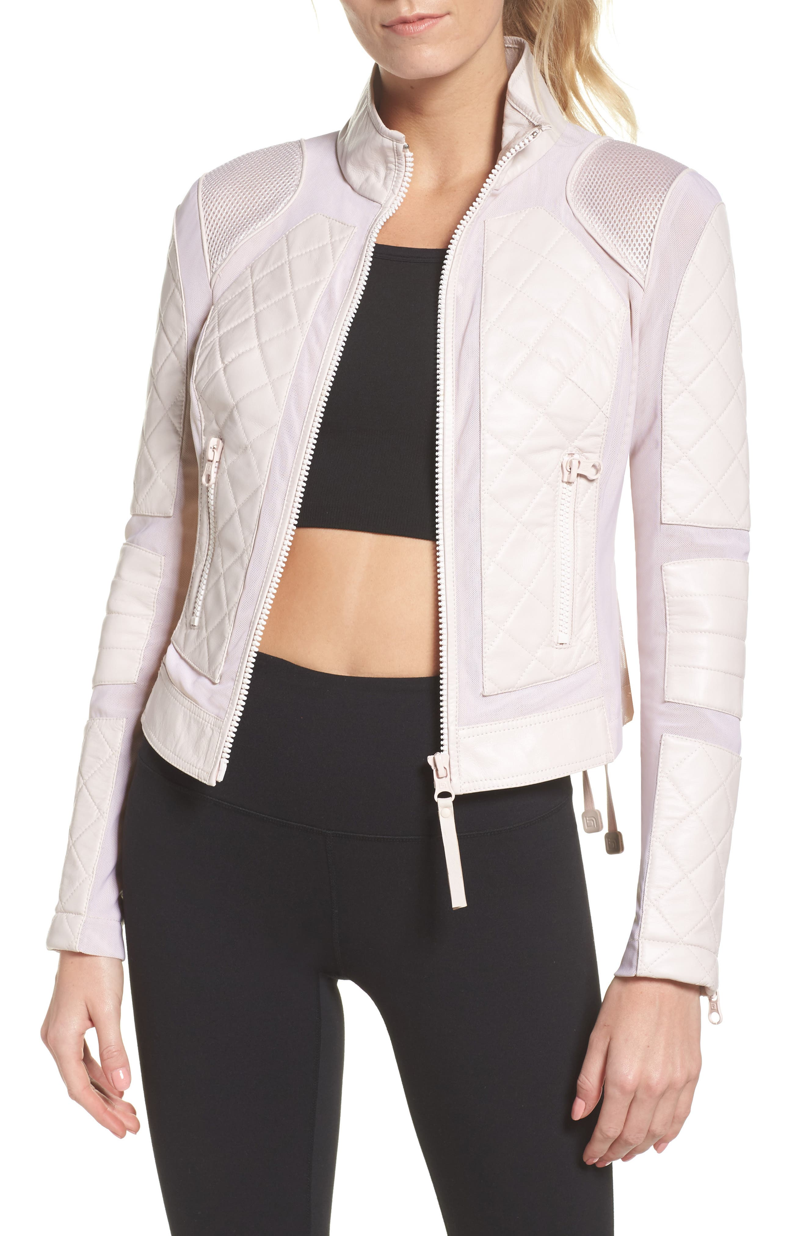 Leather & Mesh Moto Jacket,                         Main,                         color, Pink