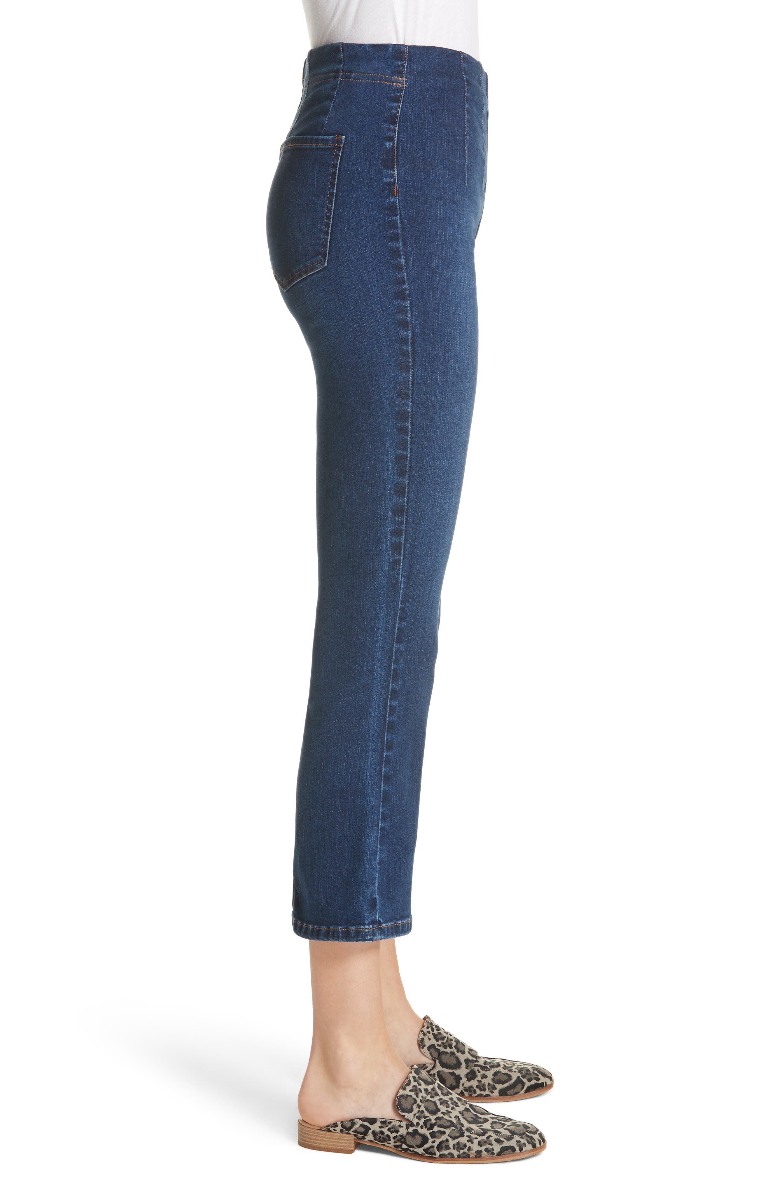 Pull-On Ultra High Waist Crop Bootcut Jeans,                             Alternate thumbnail 4, color,                             Blue