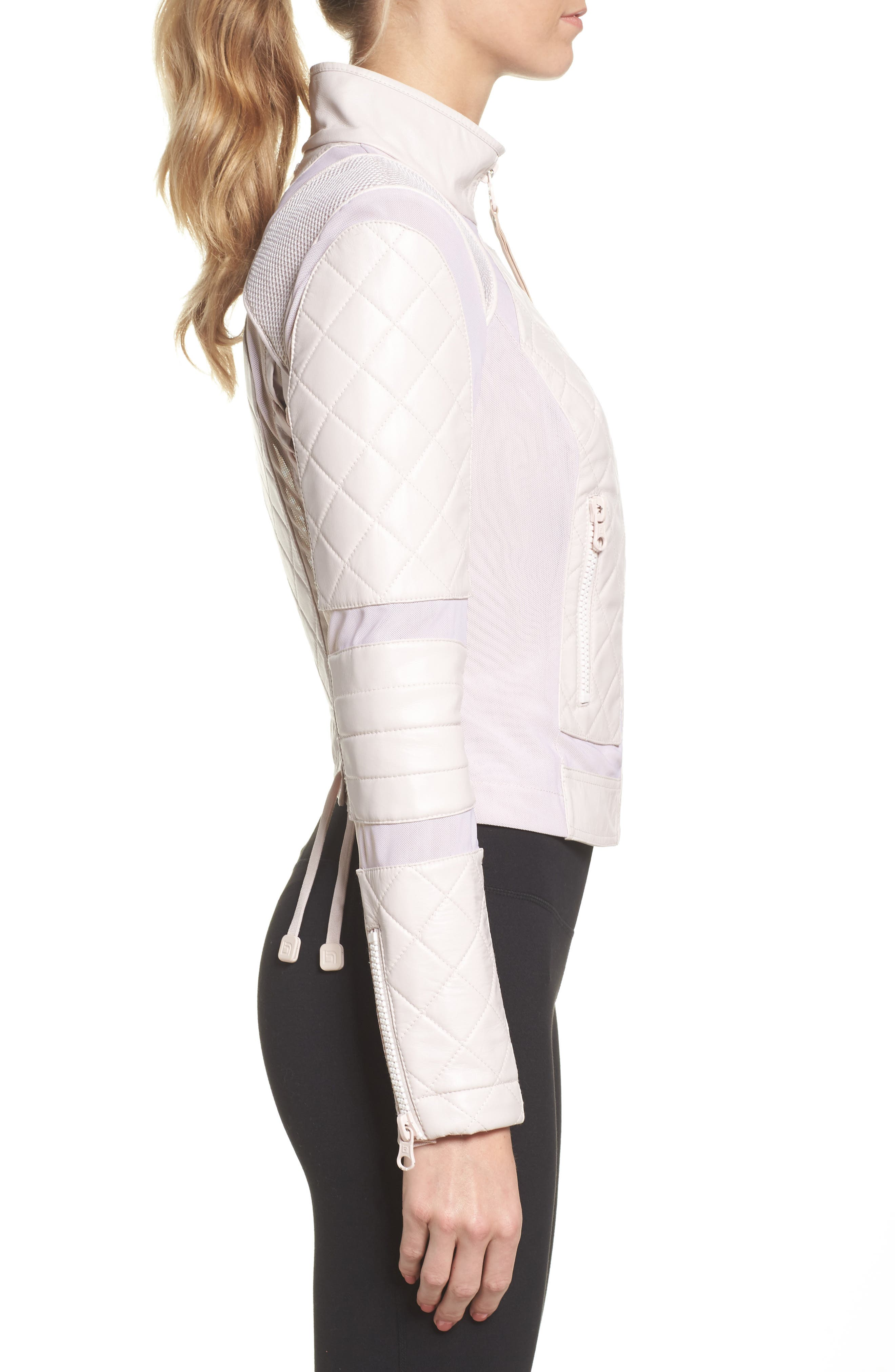 Leather & Mesh Moto Jacket,                             Alternate thumbnail 3, color,                             Pink