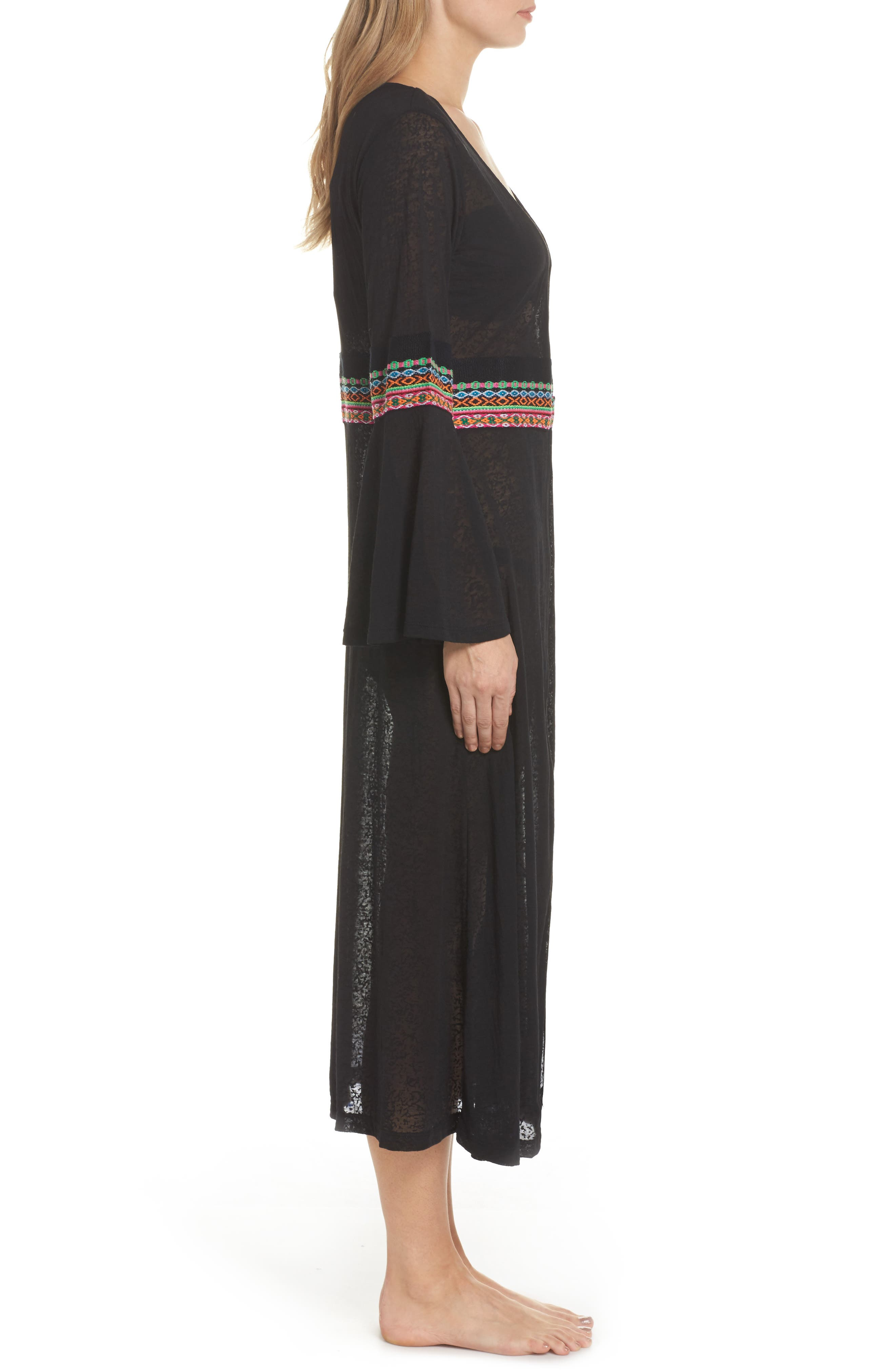 Embroidered Cover-Up,                             Alternate thumbnail 3, color,                             Black