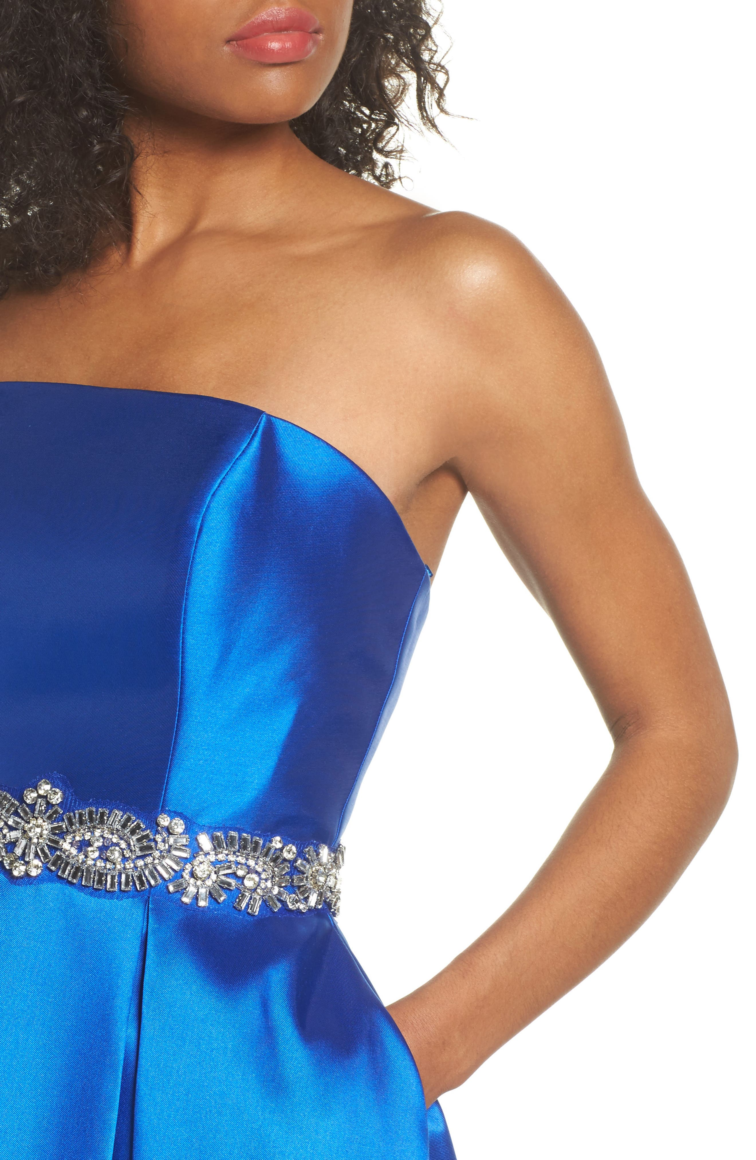 Embellished Strapless Ballgown,                             Alternate thumbnail 4, color,                             Blue