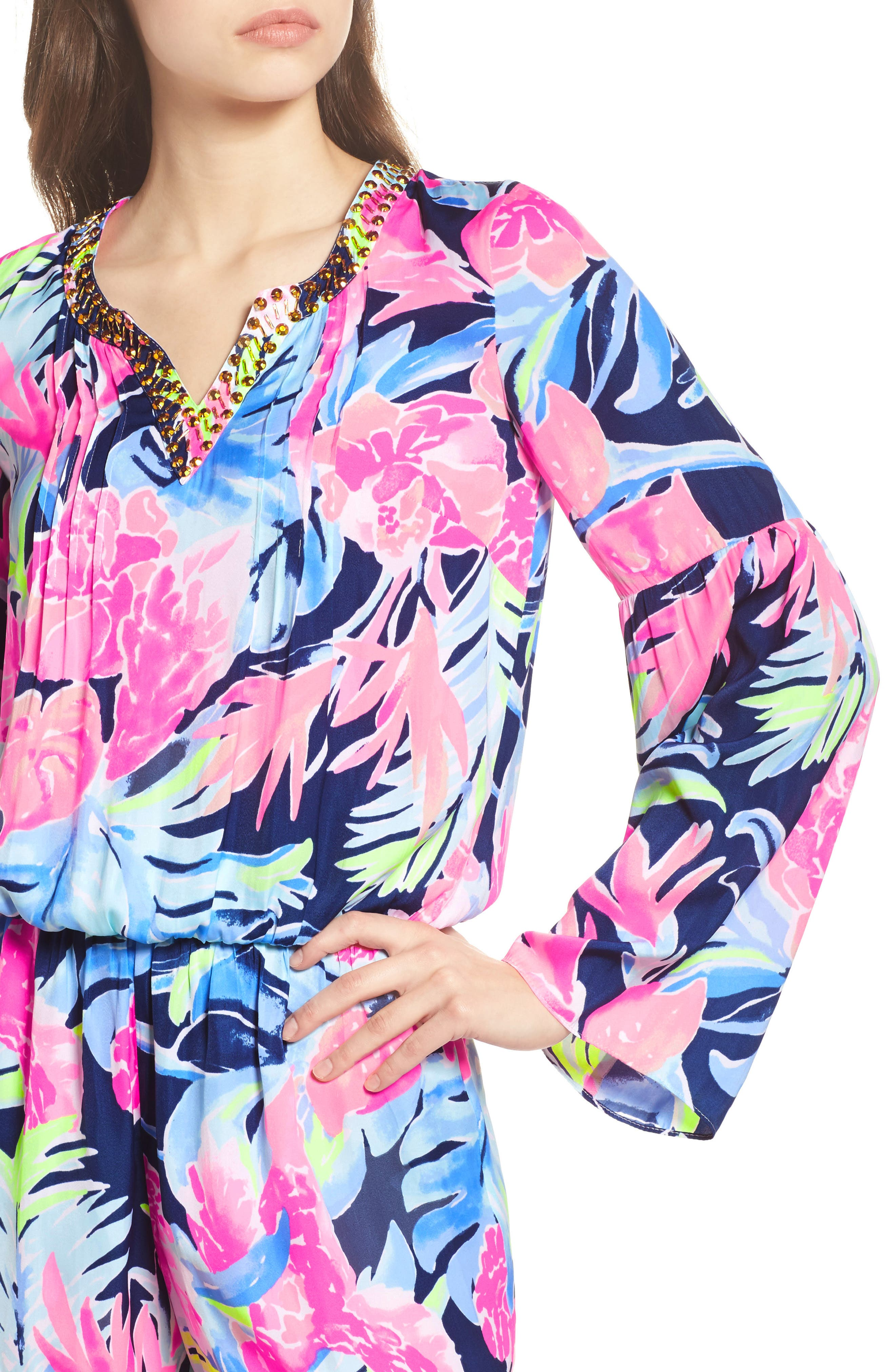 Ariele Floral Romper,                             Alternate thumbnail 4, color,                             High Tide Tropicolada