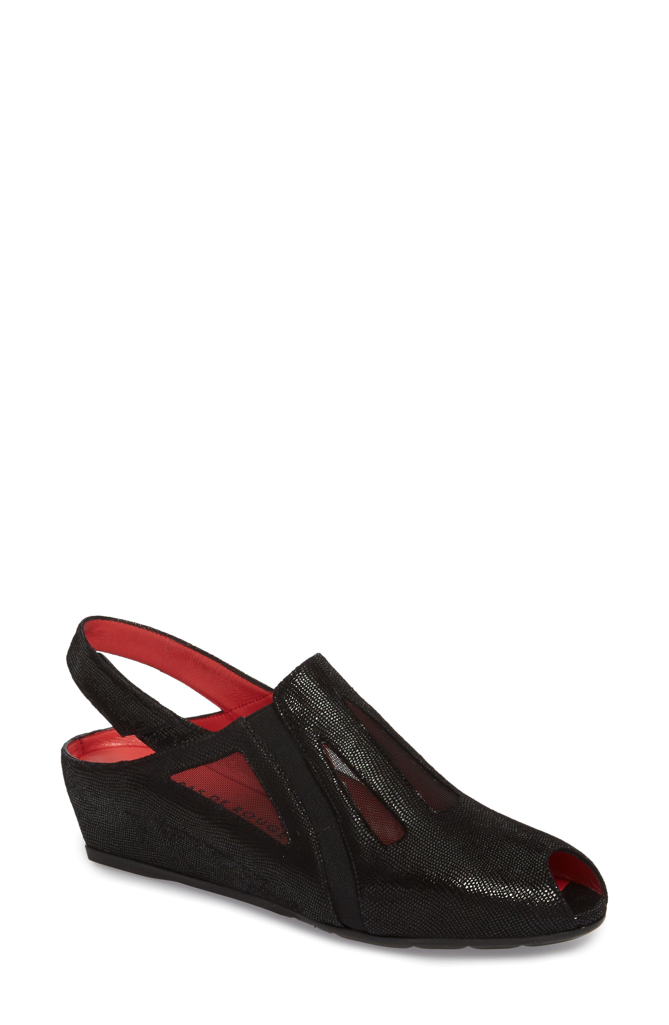 Franca Slingback Sandal,                         Main,                         color, Black Lizard Suede