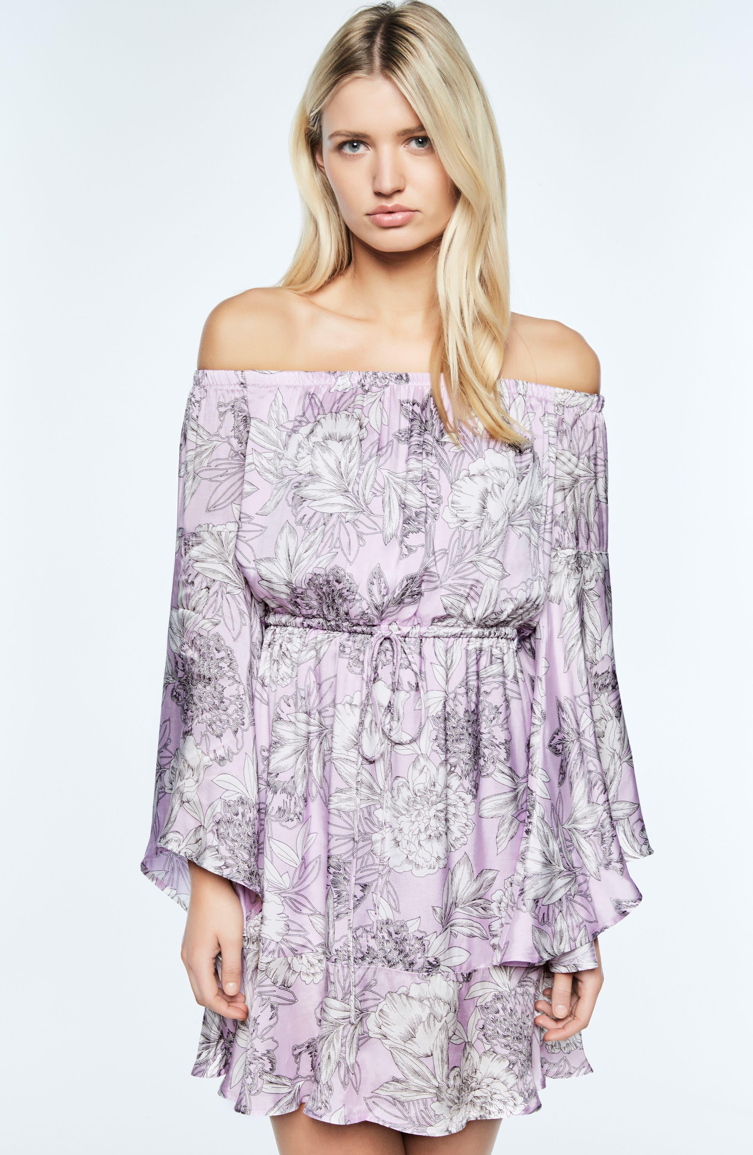 Britt Off the Shoulder Dress,                             Alternate thumbnail 2, color,                             Spring Bloom