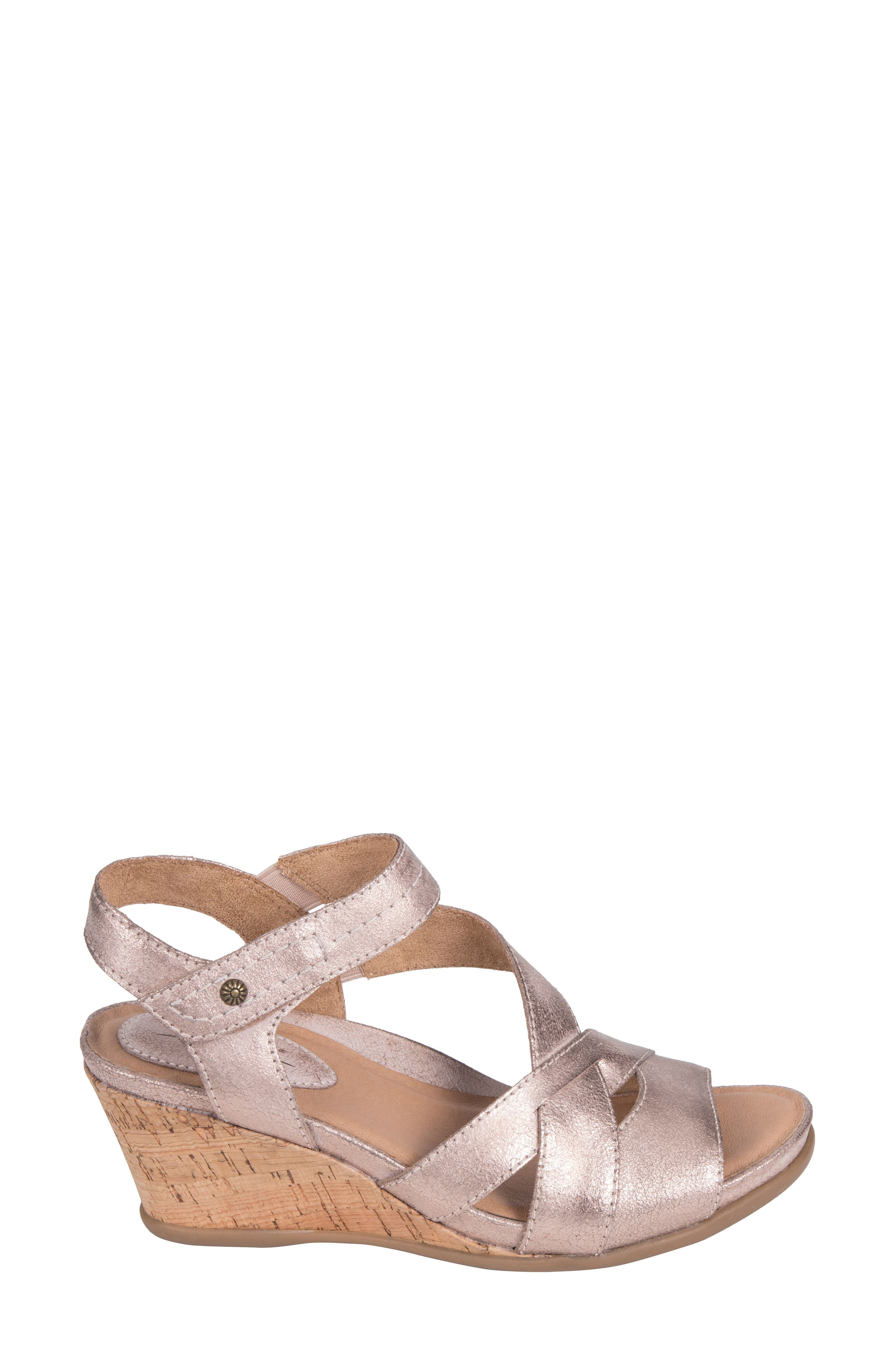 Thistle Wedge Sandal,                             Alternate thumbnail 3, color,                             Pink Leather