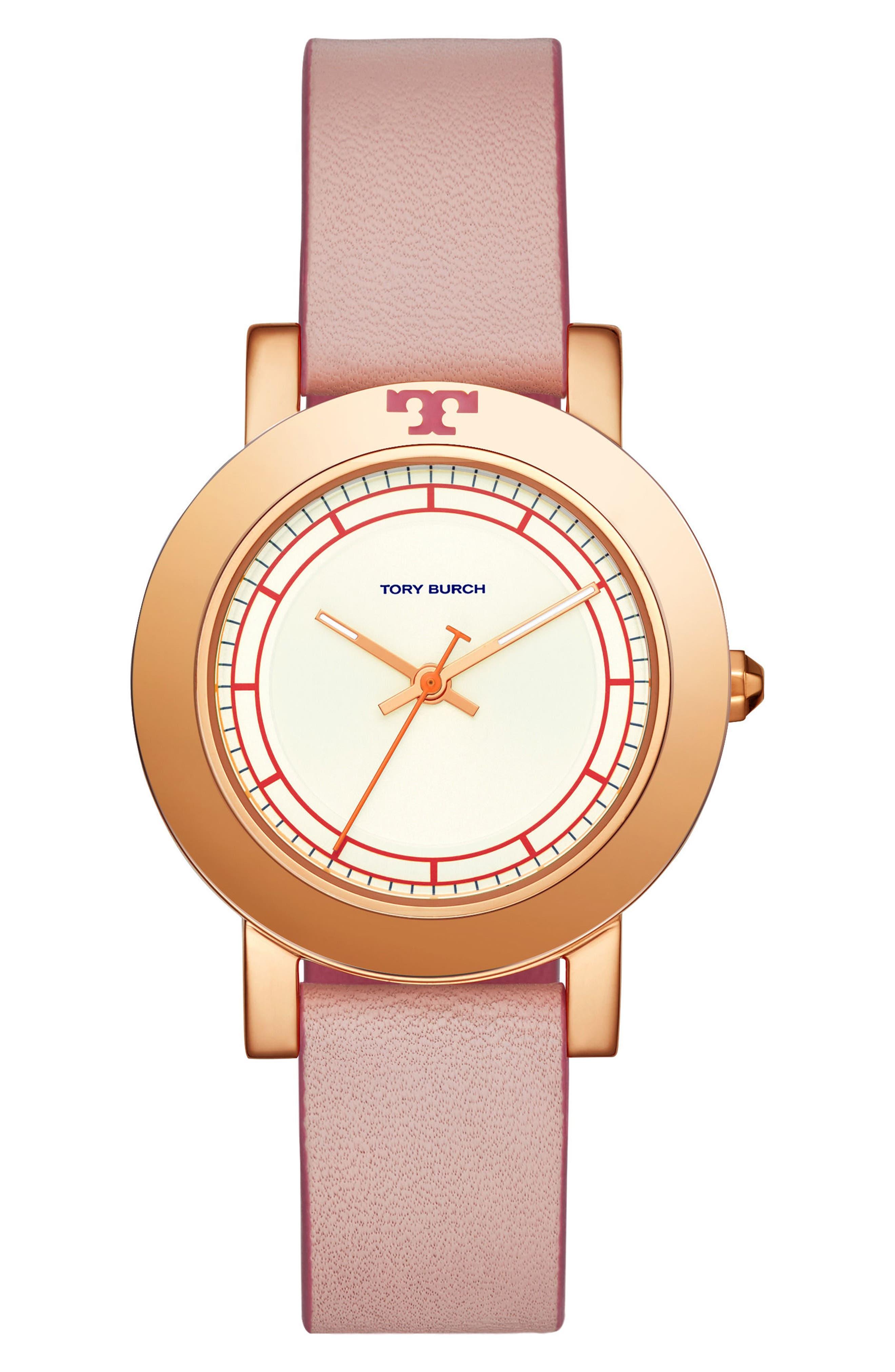 Main Image - Tory Burch Ellsworth Leather Strap Watch, 36mm