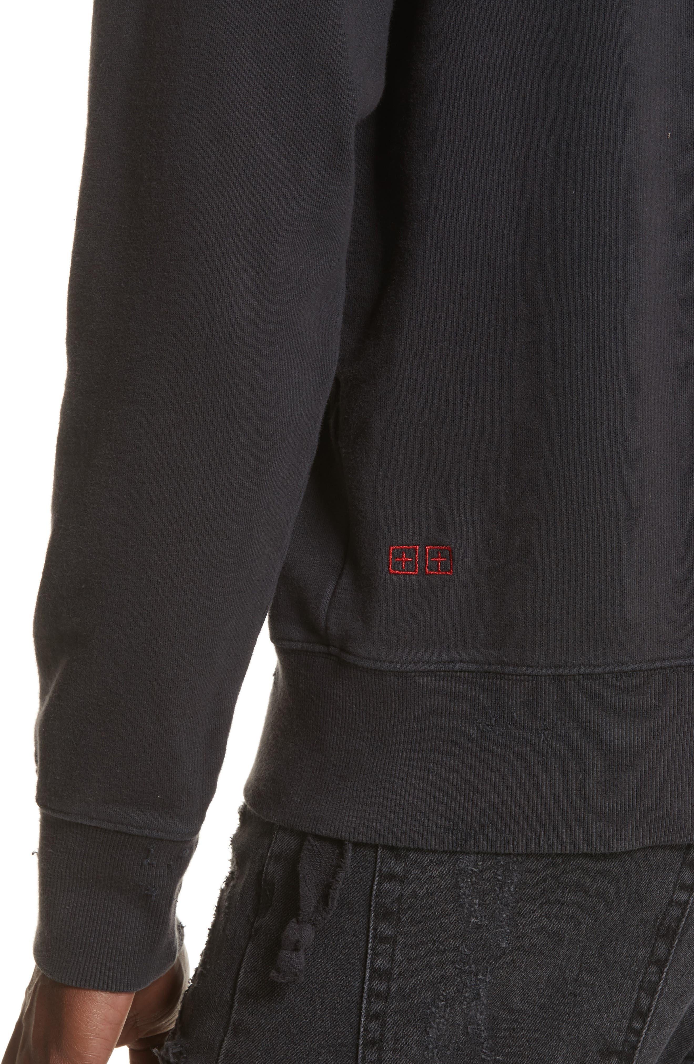 Pins Distressed Sweatshirt,                             Alternate thumbnail 4, color,                             Black