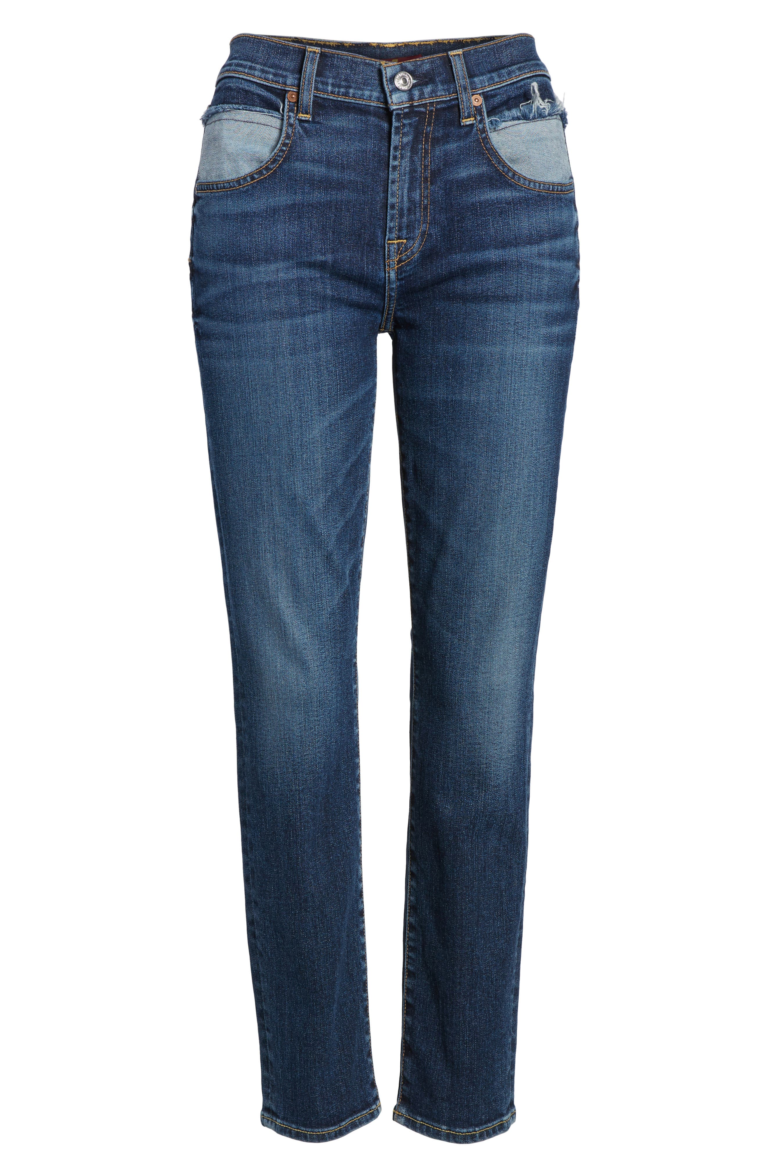 Roxanne Pieced Pocket Ankle Skinny Jeans,                             Alternate thumbnail 7, color,                             Midnight Desert