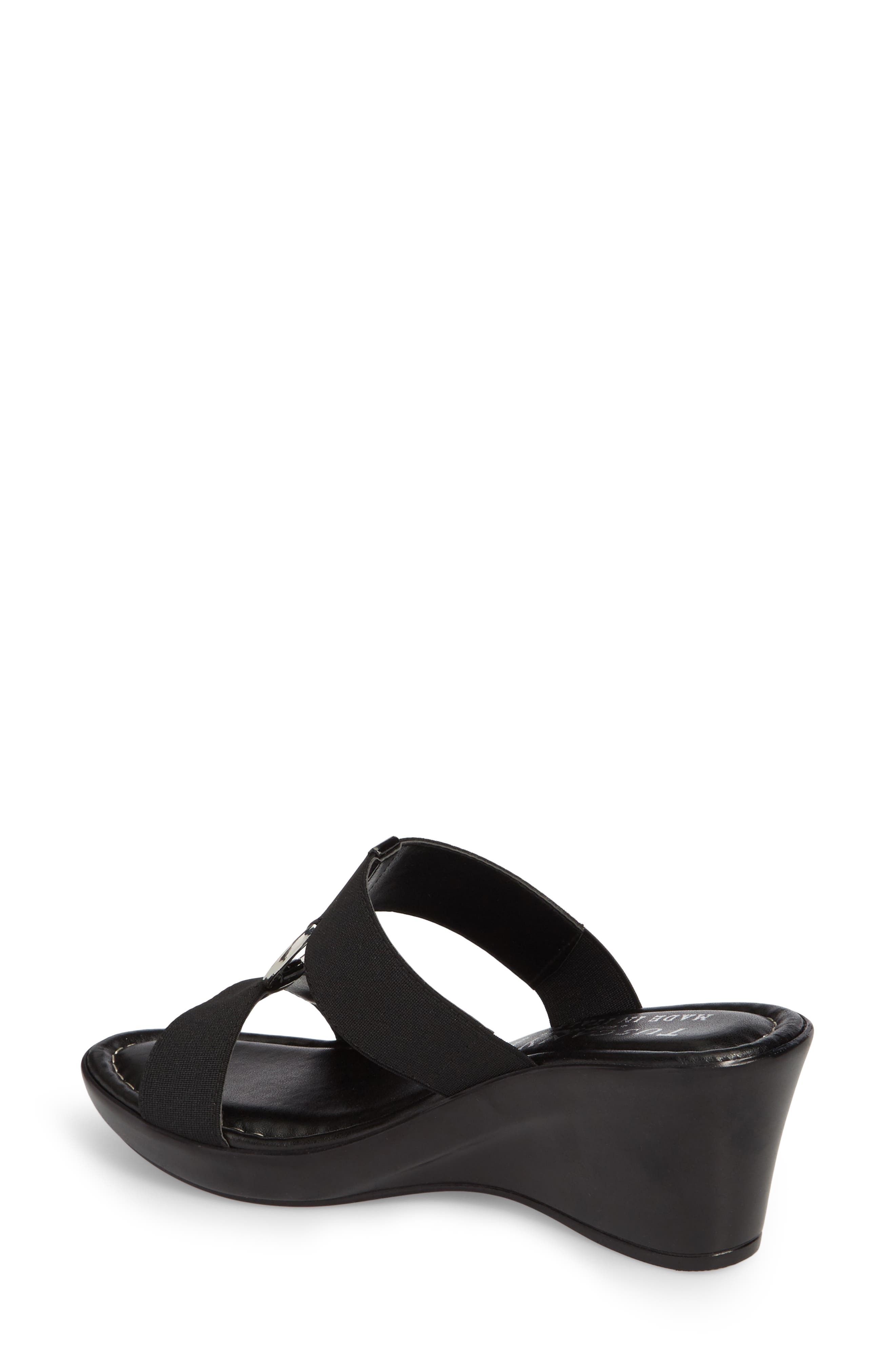 by Easy Street<sup>®</sup> Marietta Slide Sandal,                             Alternate thumbnail 2, color,                             Black Patent Faux Leather
