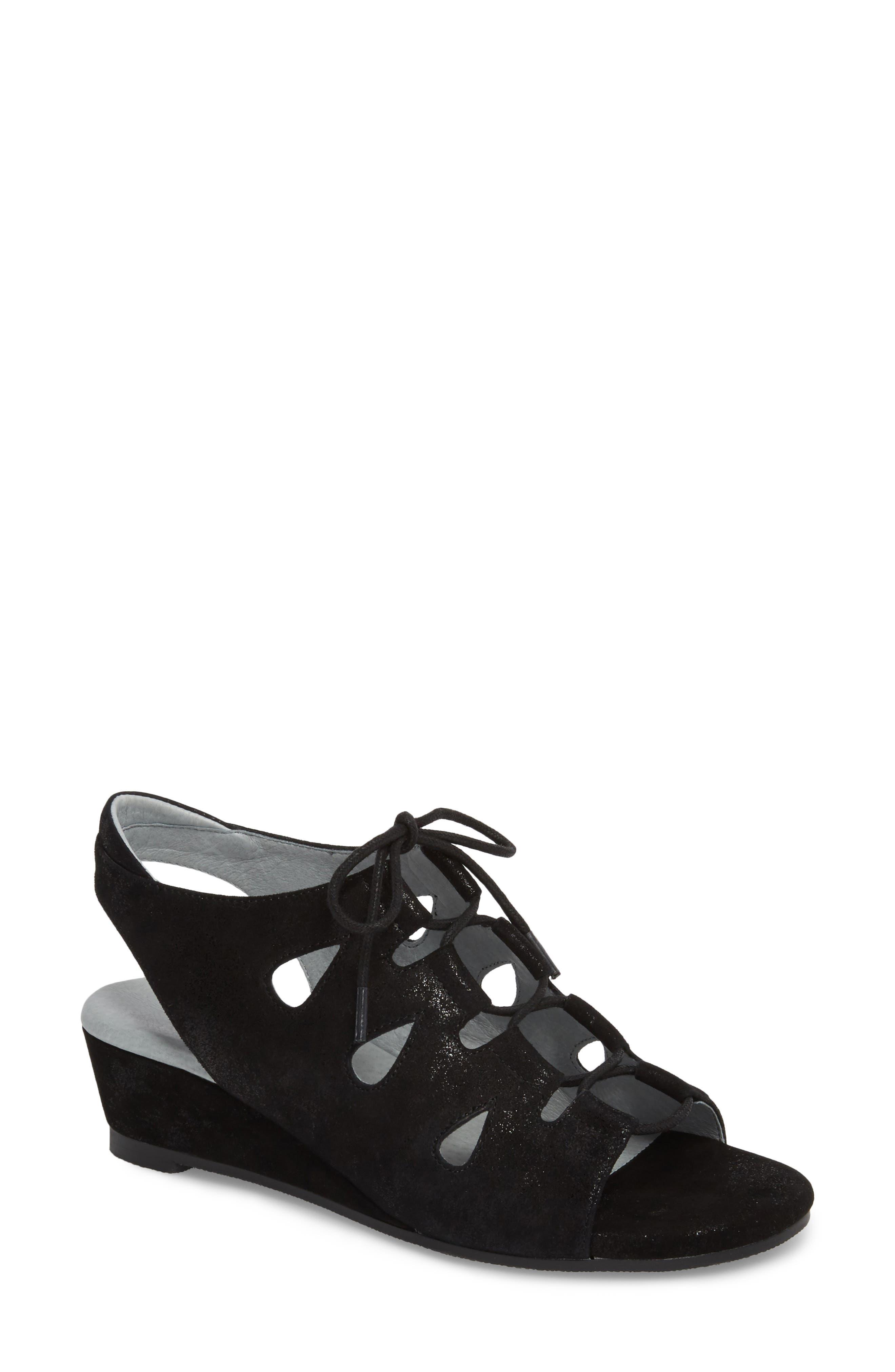 Rich Wedge Sandal,                             Main thumbnail 1, color,                             Black Suede