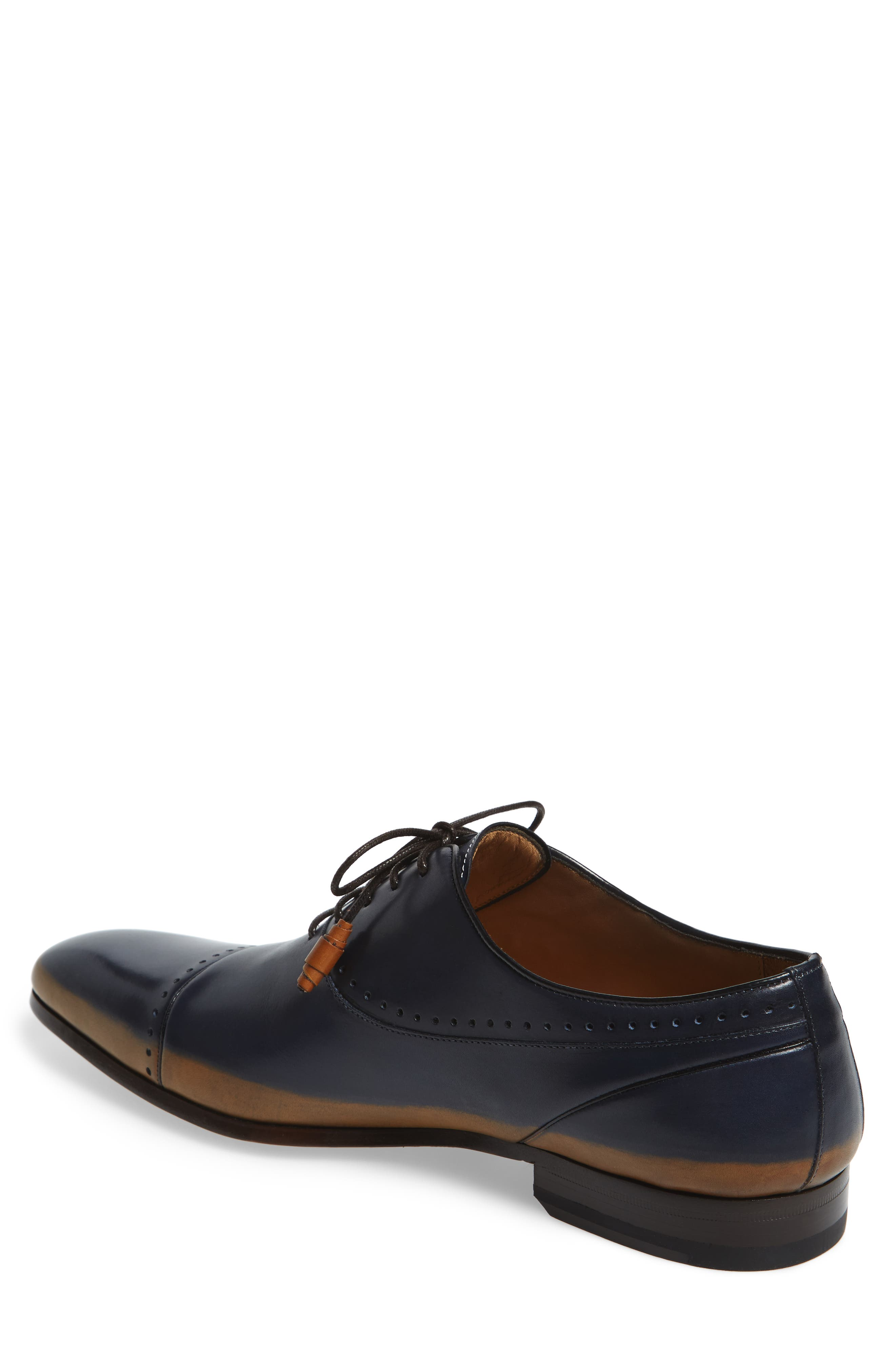 Icaro Cap Toe Oxford,                             Alternate thumbnail 2, color,                             Tan/ Blue Leather