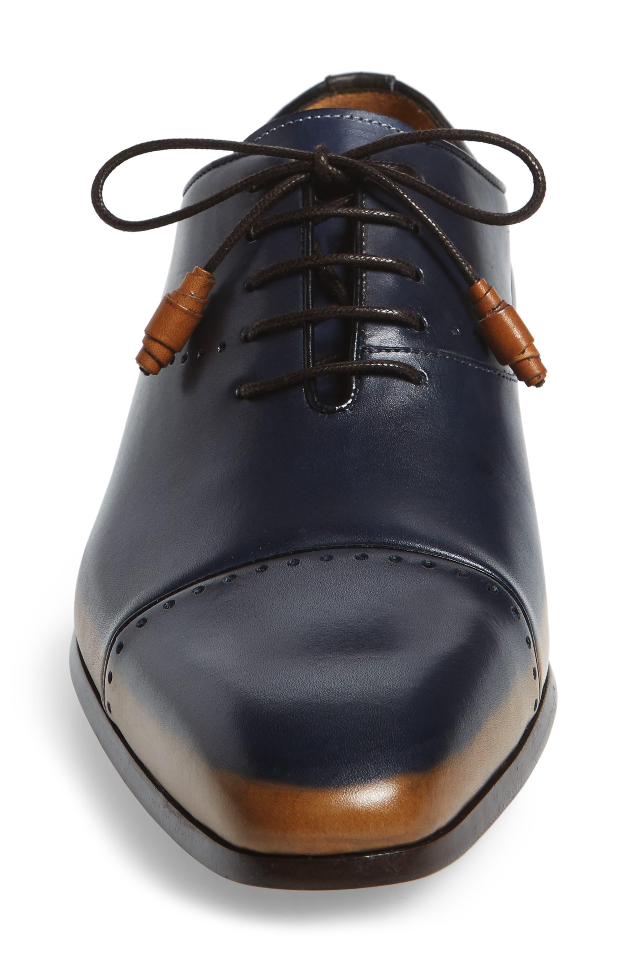 Icaro Cap Toe Oxford,                             Alternate thumbnail 4, color,                             Tan/ Blue Leather
