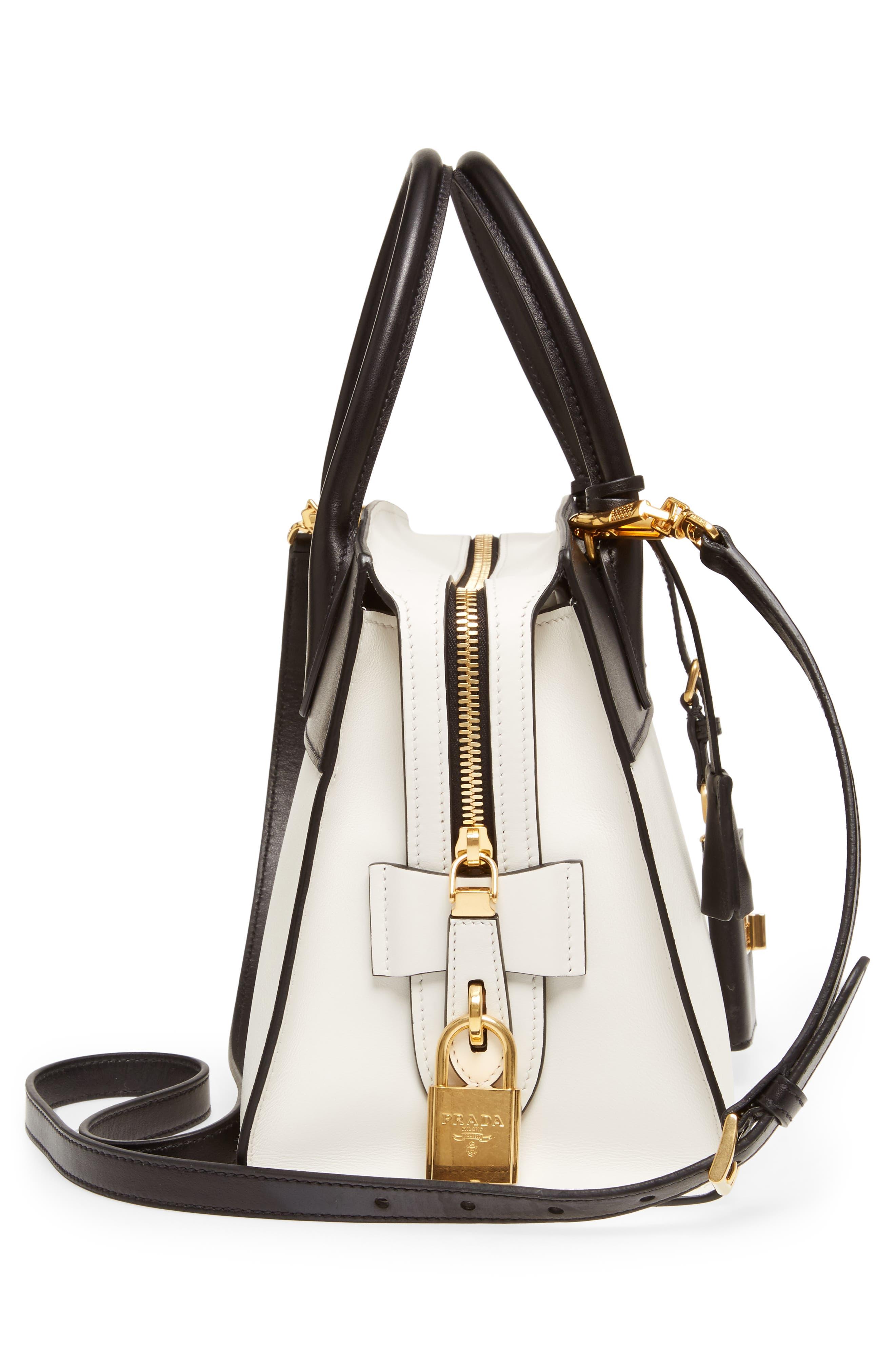 Medium Esplanade Leather Satchel,                             Alternate thumbnail 5, color,                             Bianco/Nero