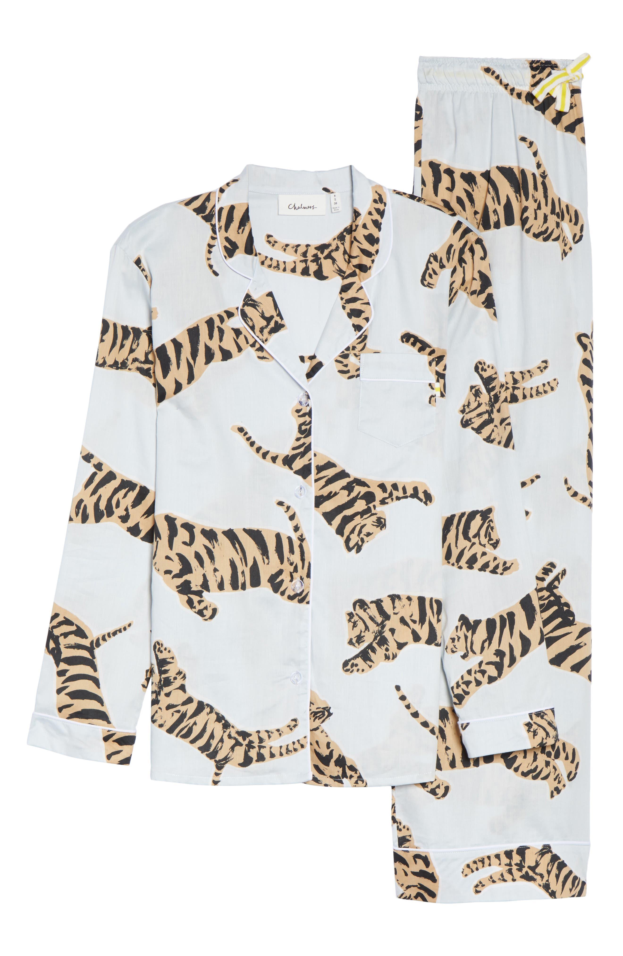 Suzie Cotton Pajamas,                             Alternate thumbnail 4, color,                             Tiger Moon Light Blue