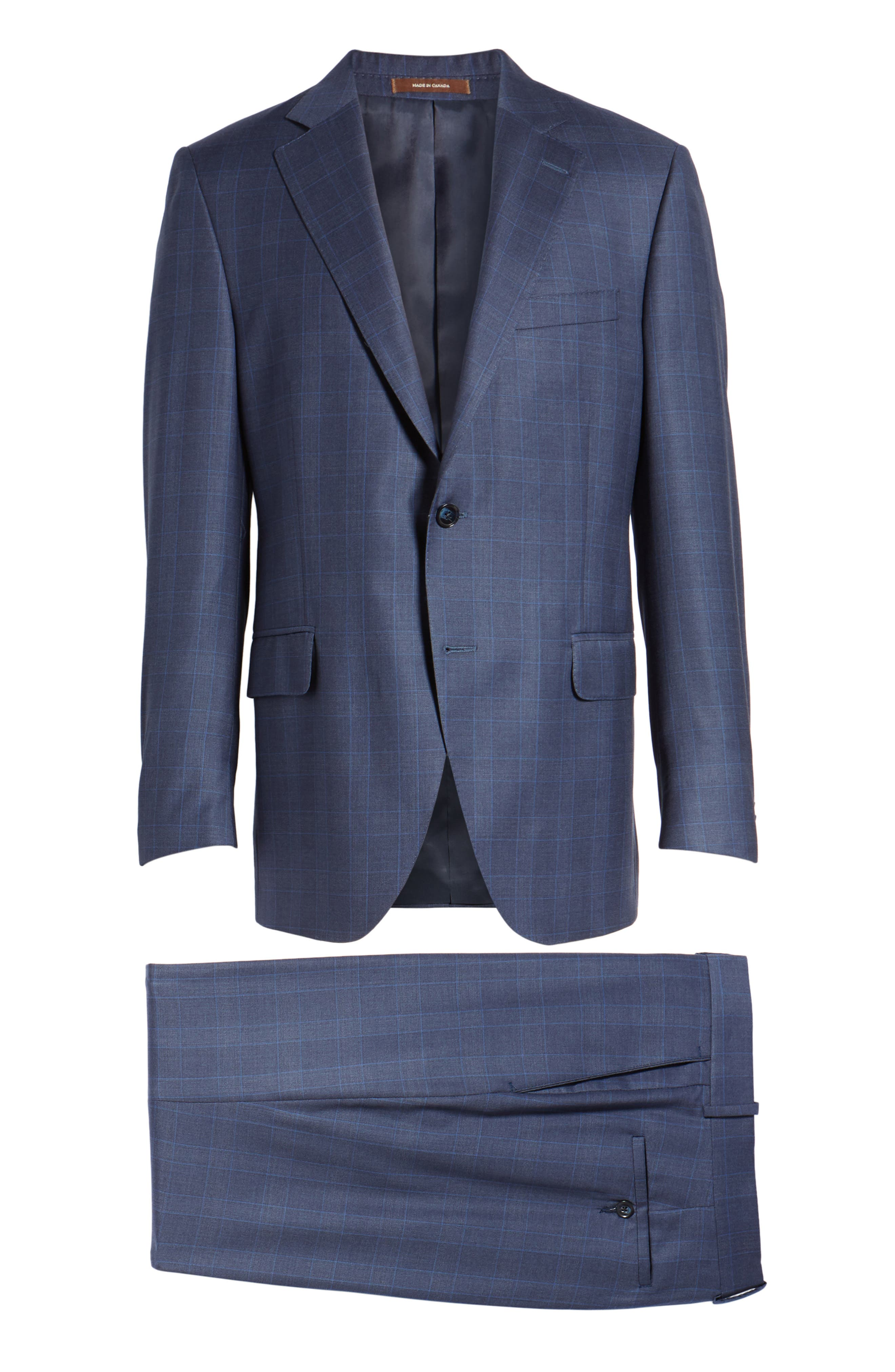 Classic Fit Windowpane Wool Suit,                             Alternate thumbnail 8, color,                             Blue