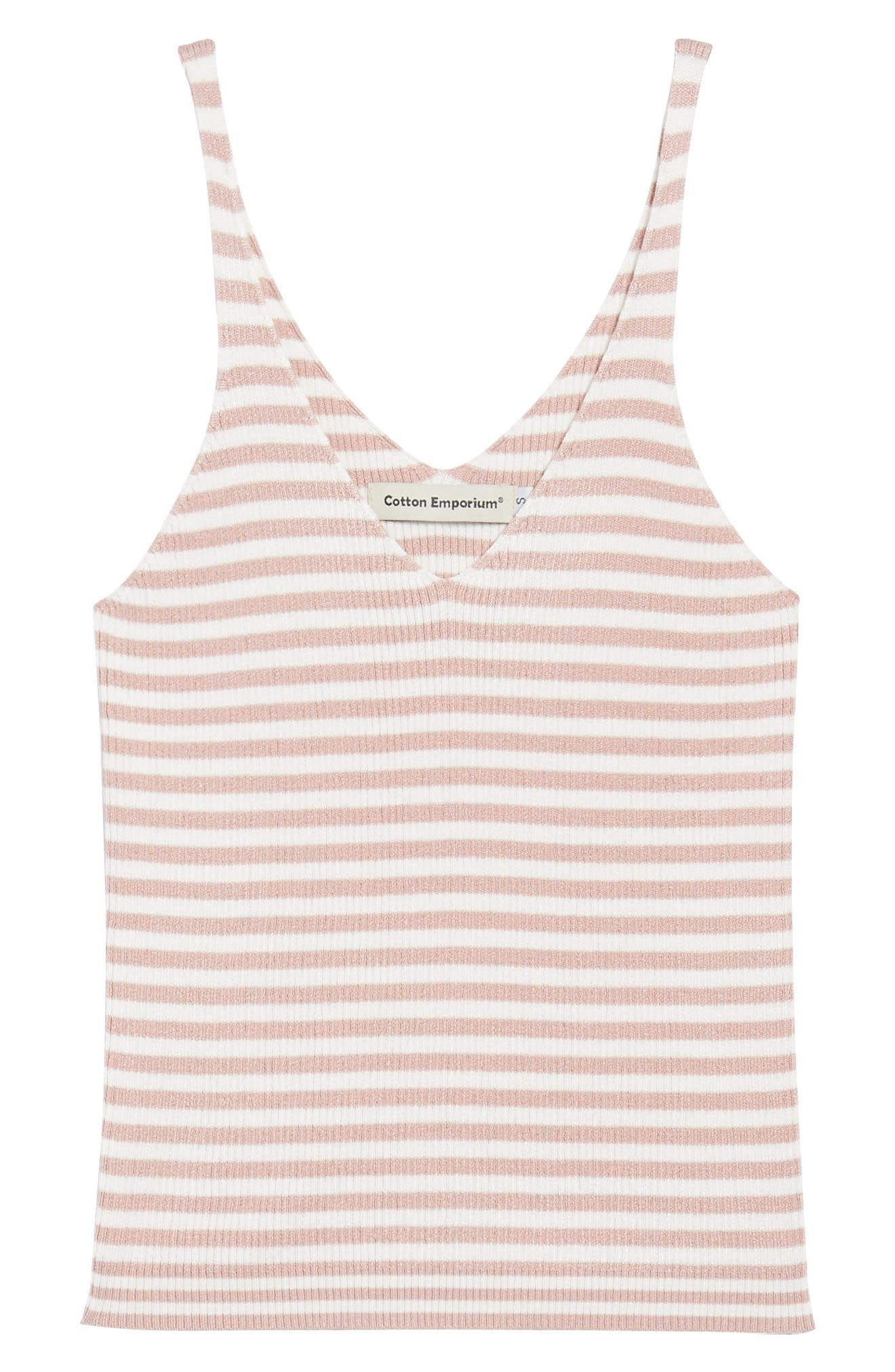 Stripe Sweater Camisole,                             Alternate thumbnail 6, color,                             Pink/ White Stripe