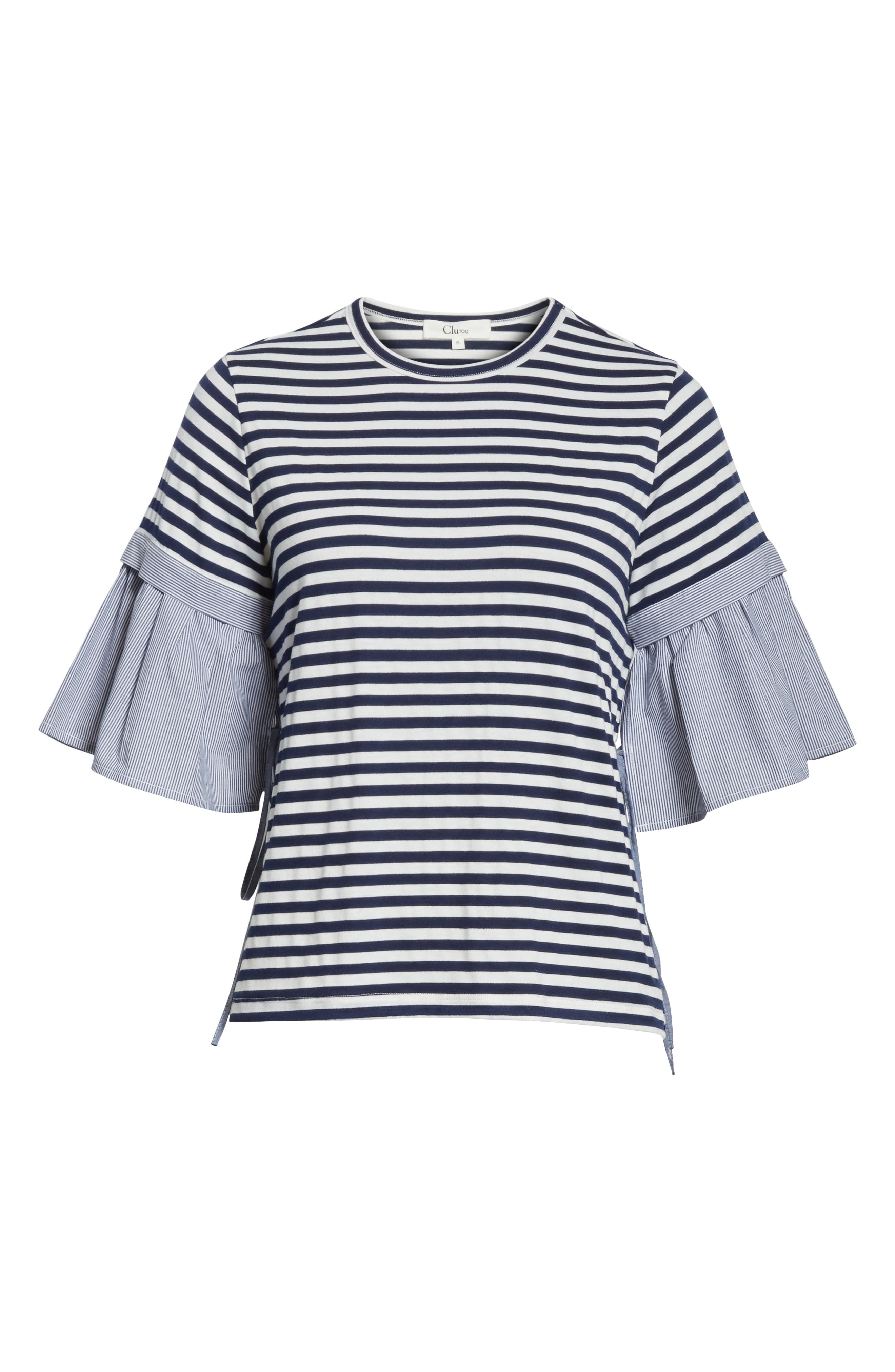 Ruffle Sleeve Stripe Tee,                             Alternate thumbnail 6, color,                             Navy