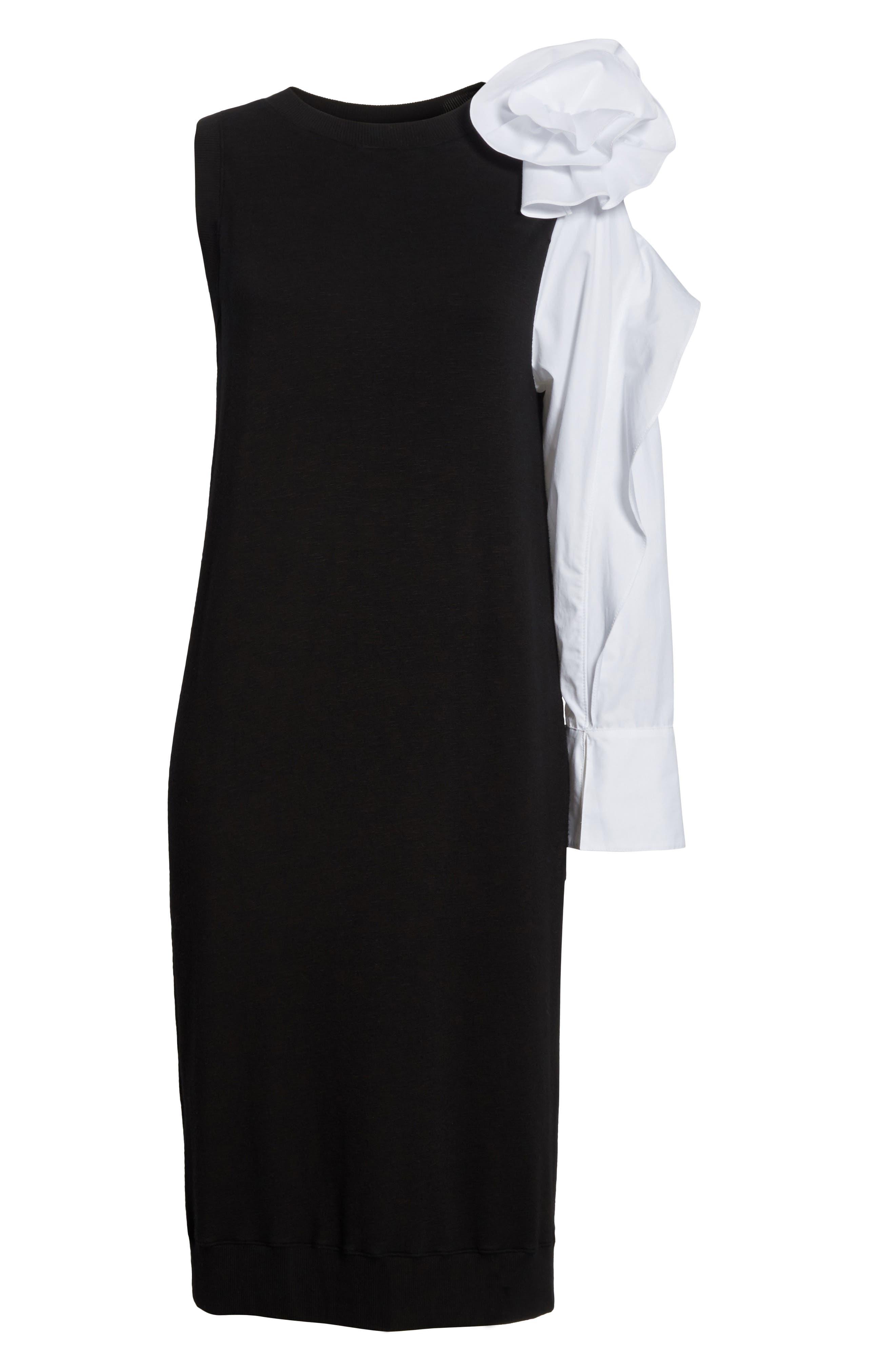 Bow Sleeve Midi Dress,                             Alternate thumbnail 6, color,                             Black