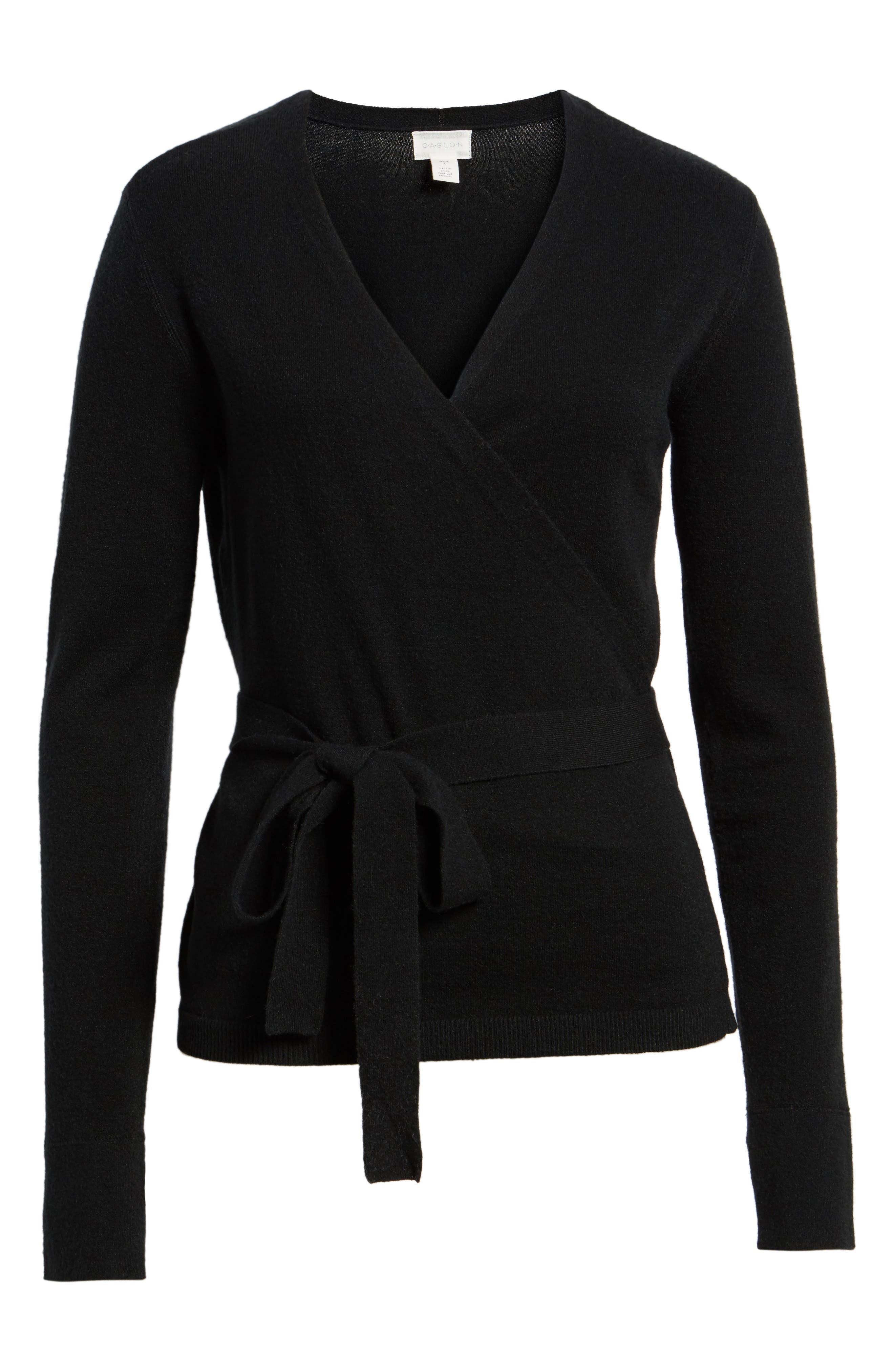 Off-Duty Ballet Tie Front Sweater,                             Alternate thumbnail 3, color,                             Black